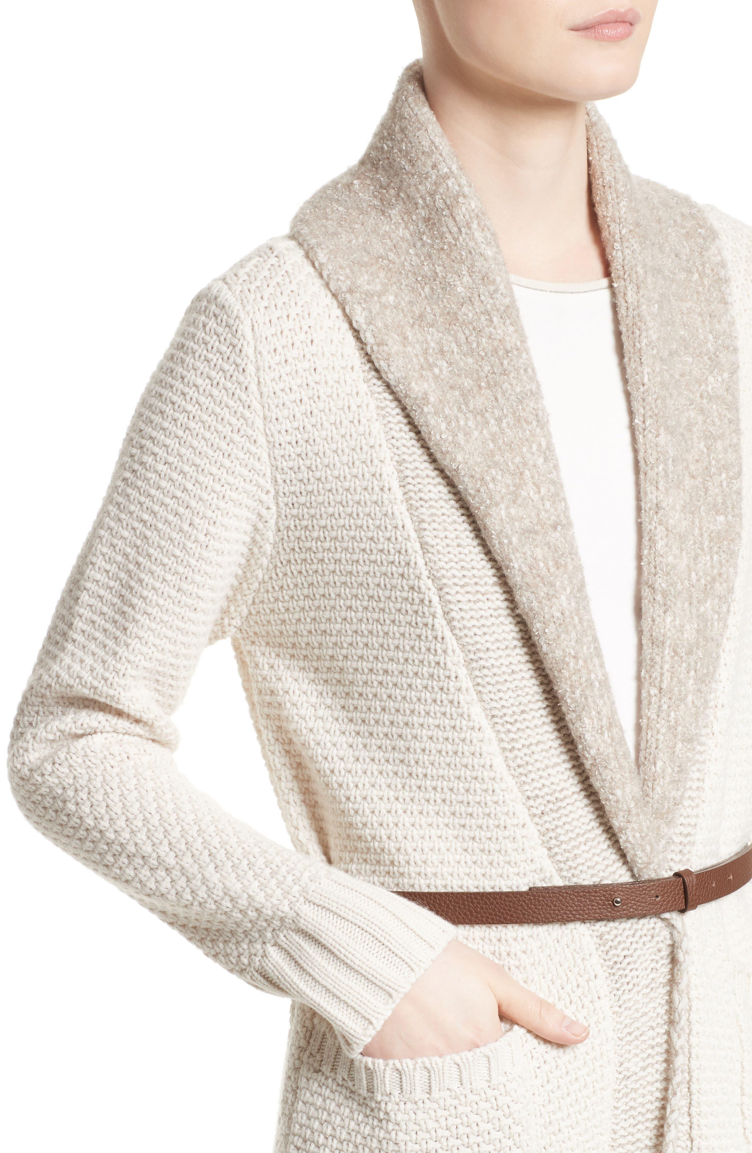 Wool, Silk & Cashmere Knit Cardigan,                             Alternate thumbnail 4, color,                             101