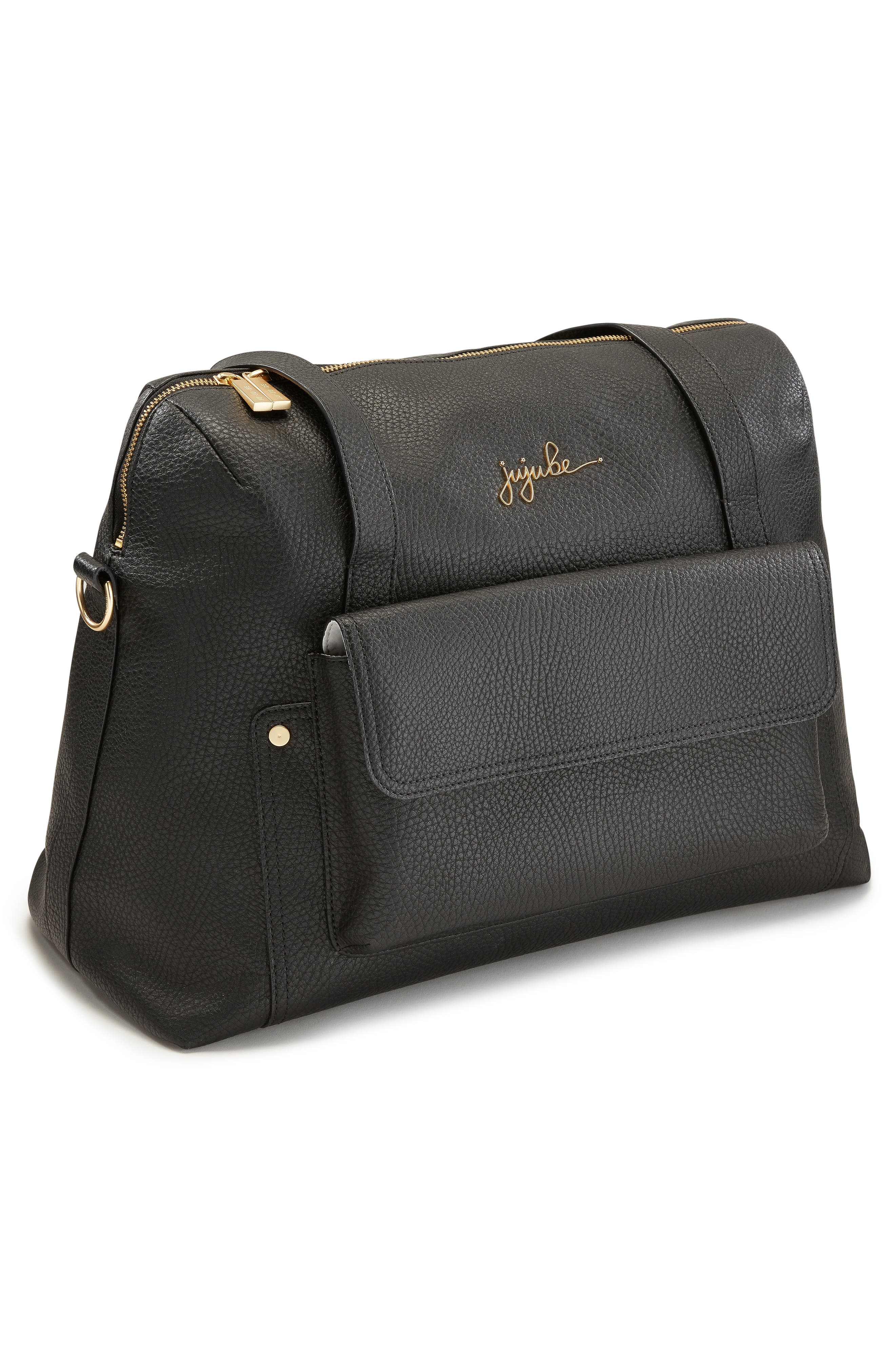 Ever Collection Wherever Faux Leather Weekend Diaper Bag,                             Alternate thumbnail 7, color,                             NOIR