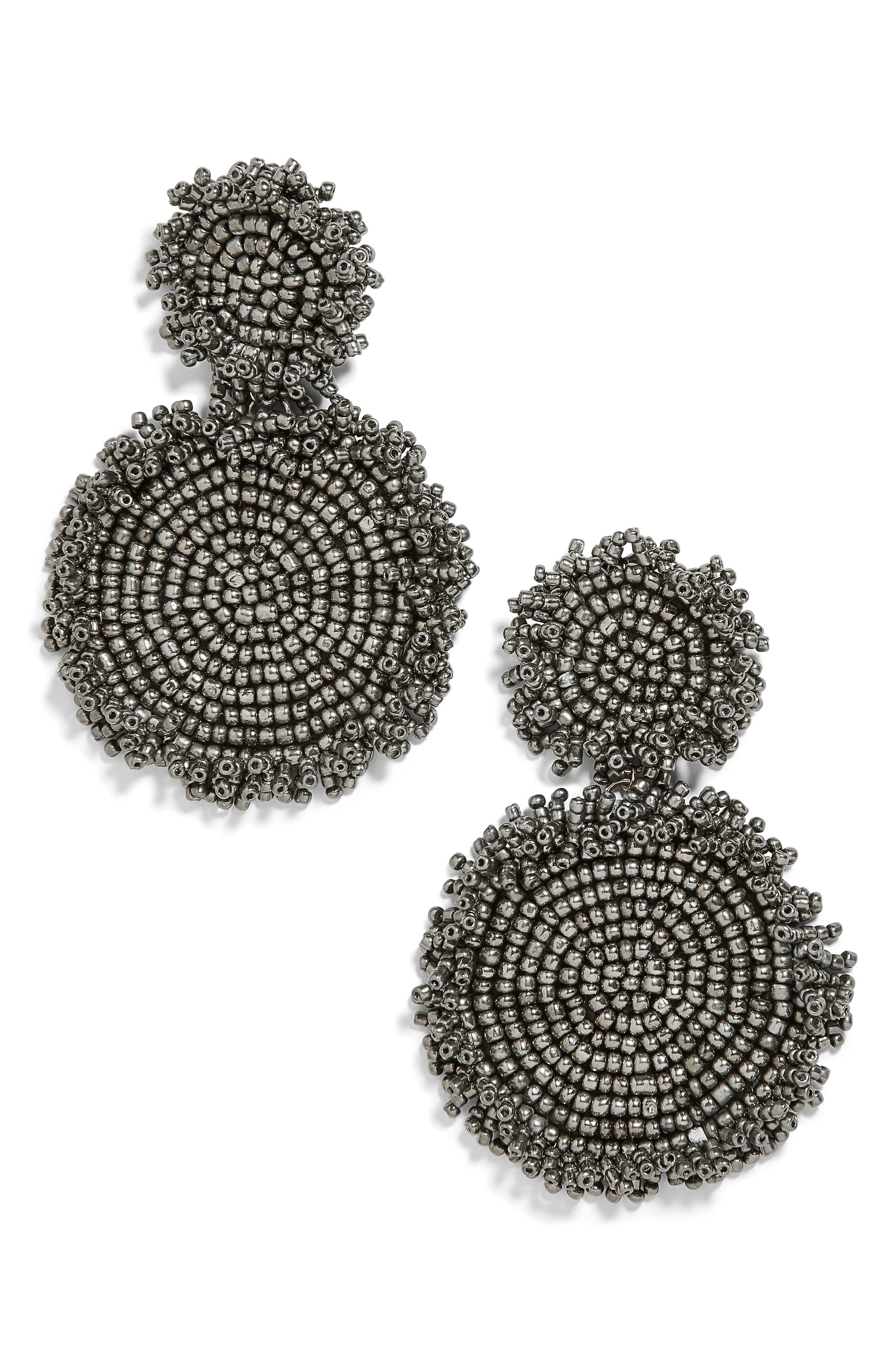 Rianne Beaded Drop Earrings,                         Main,                         color, GREY