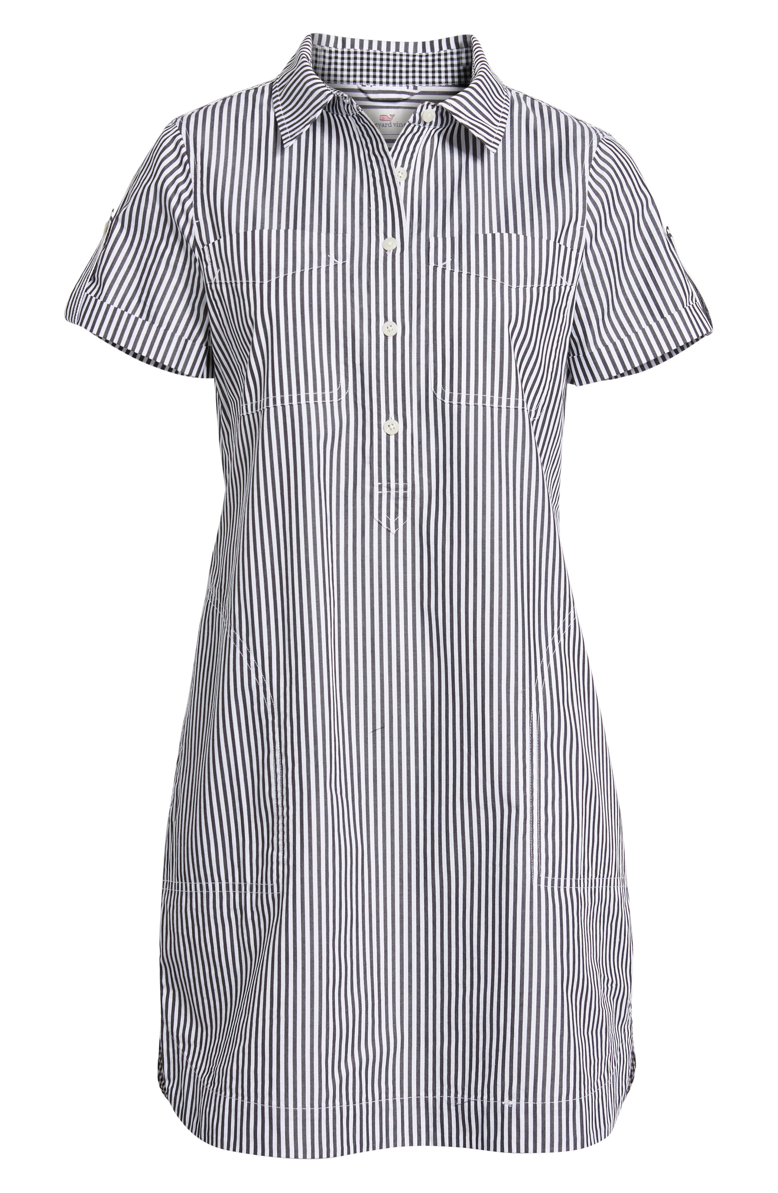 Stripe Utility Shirtdress,                             Alternate thumbnail 7, color,                             002