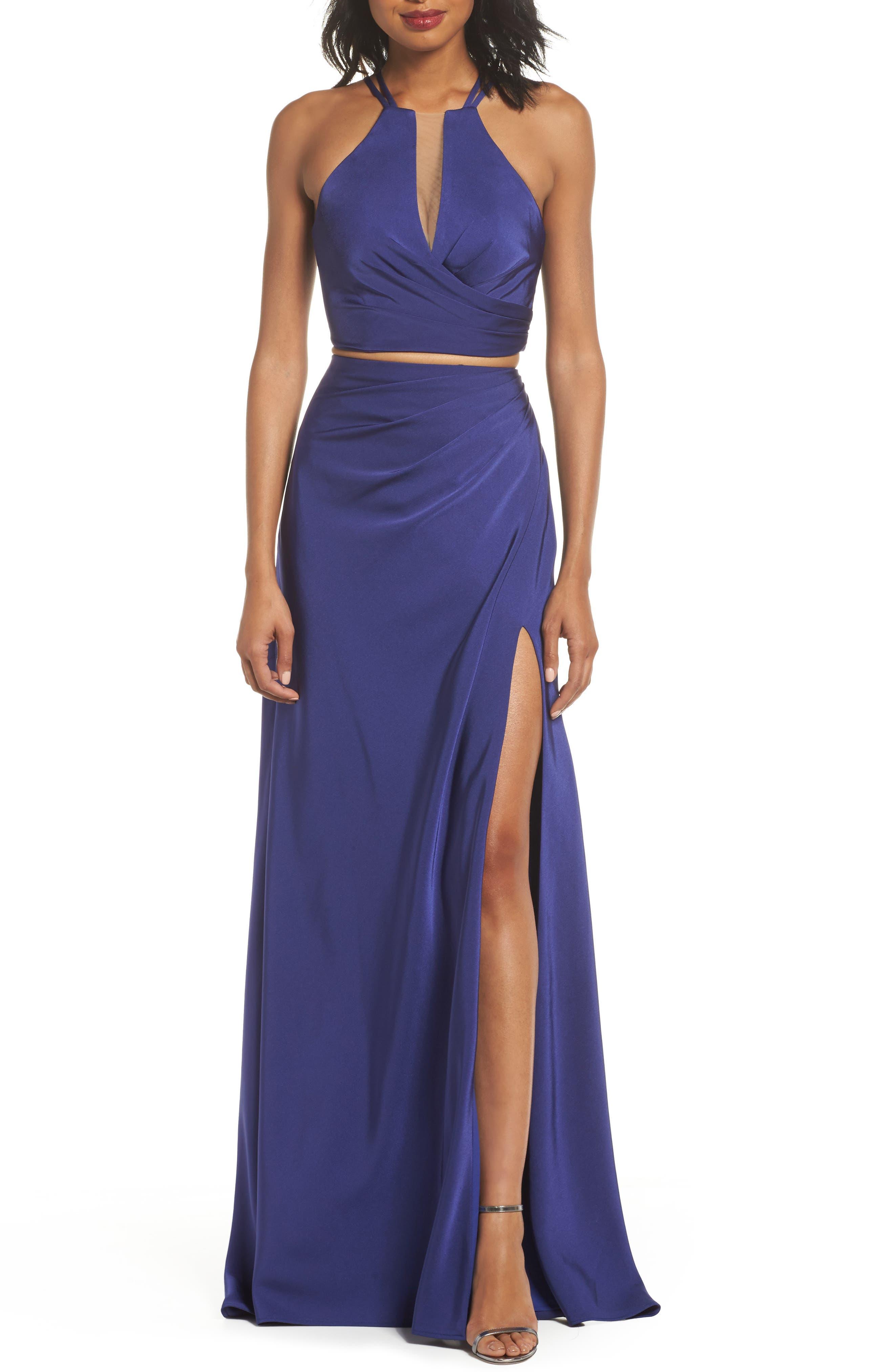La Femme Strappy Two-Piece Sheath Gown, Purple