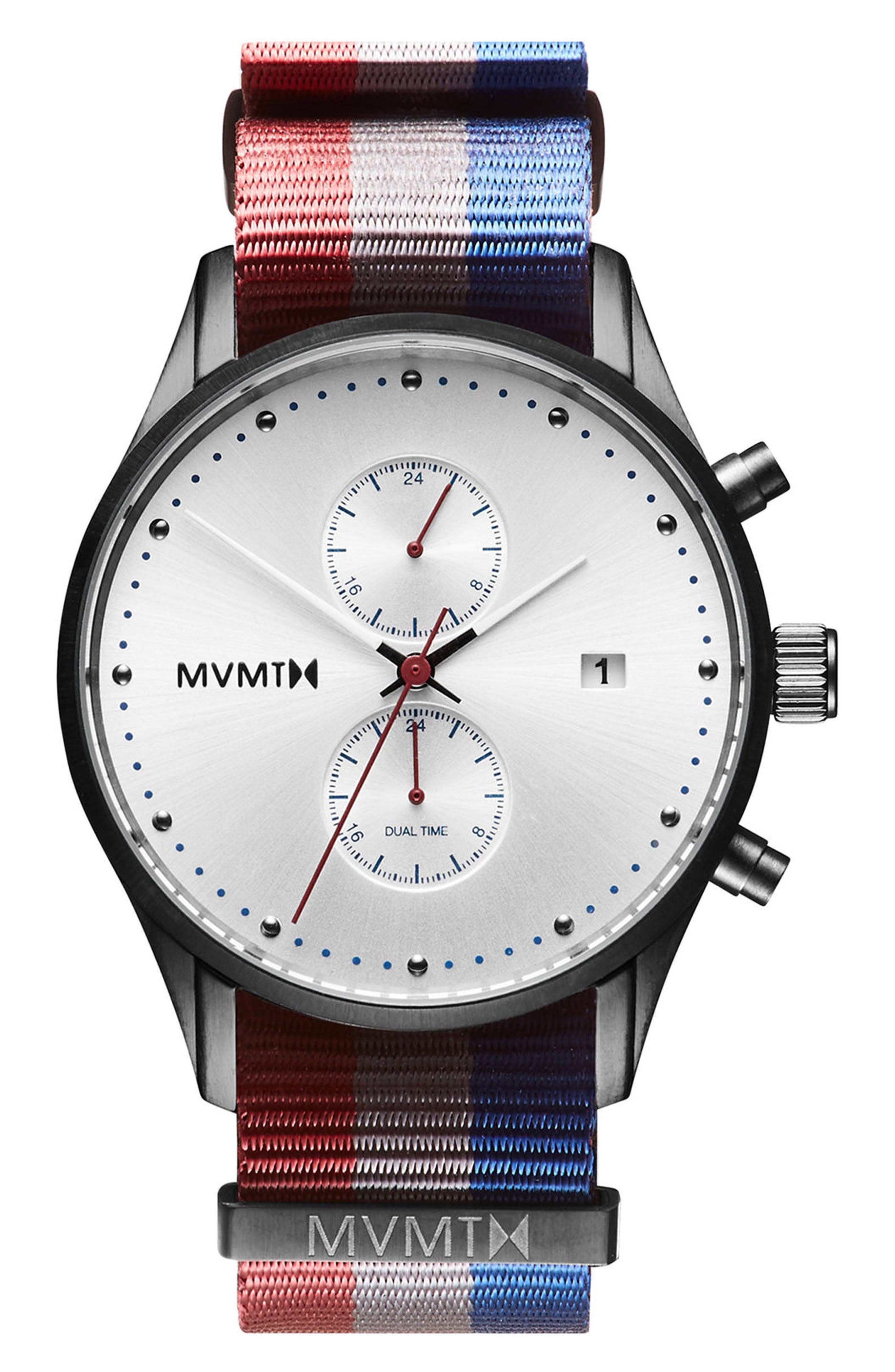 Voyager Chronograph Canvas Strap Watch, 42mm,                             Main thumbnail 1, color,                             020
