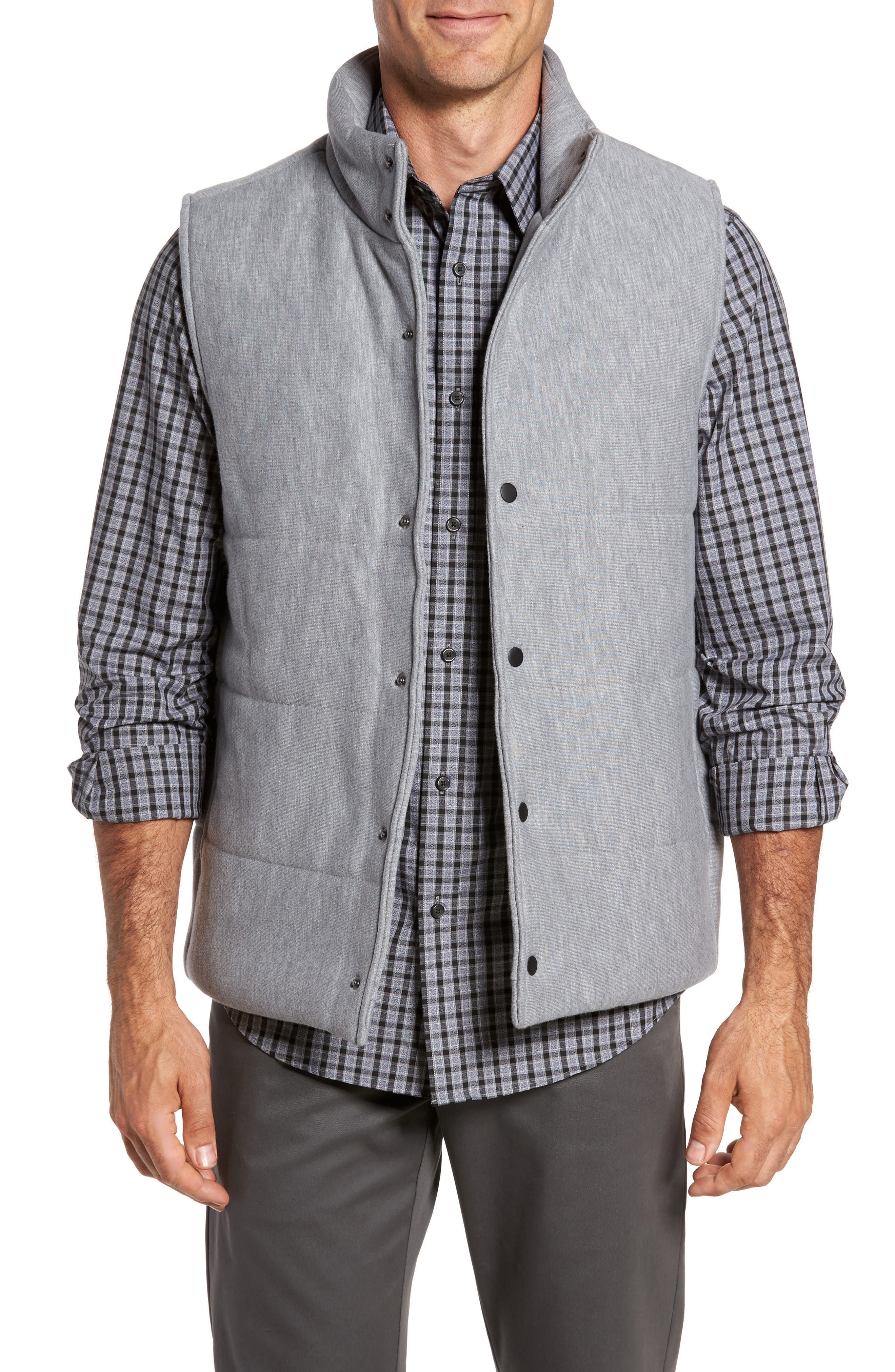 Quilted Fleece Vest,                         Main,                         color,