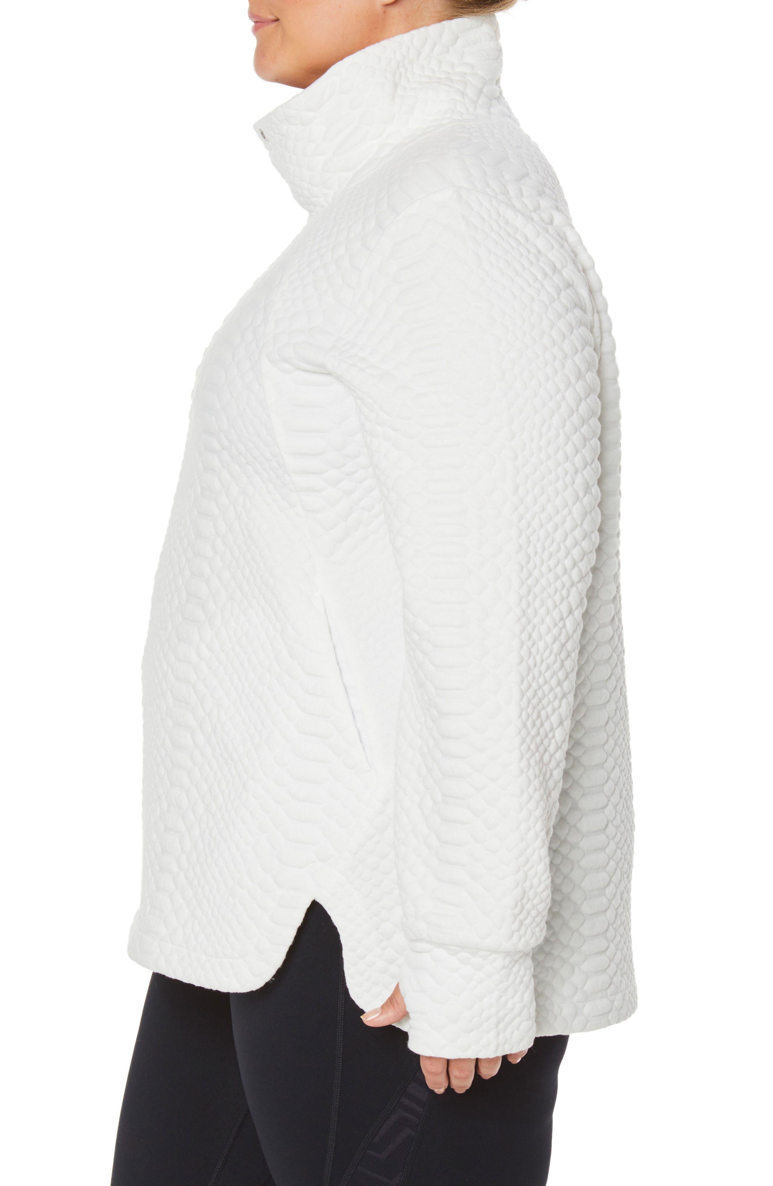 Saturday Mock Neck Pullover,                             Alternate thumbnail 3, color,                             WINTER WHITE