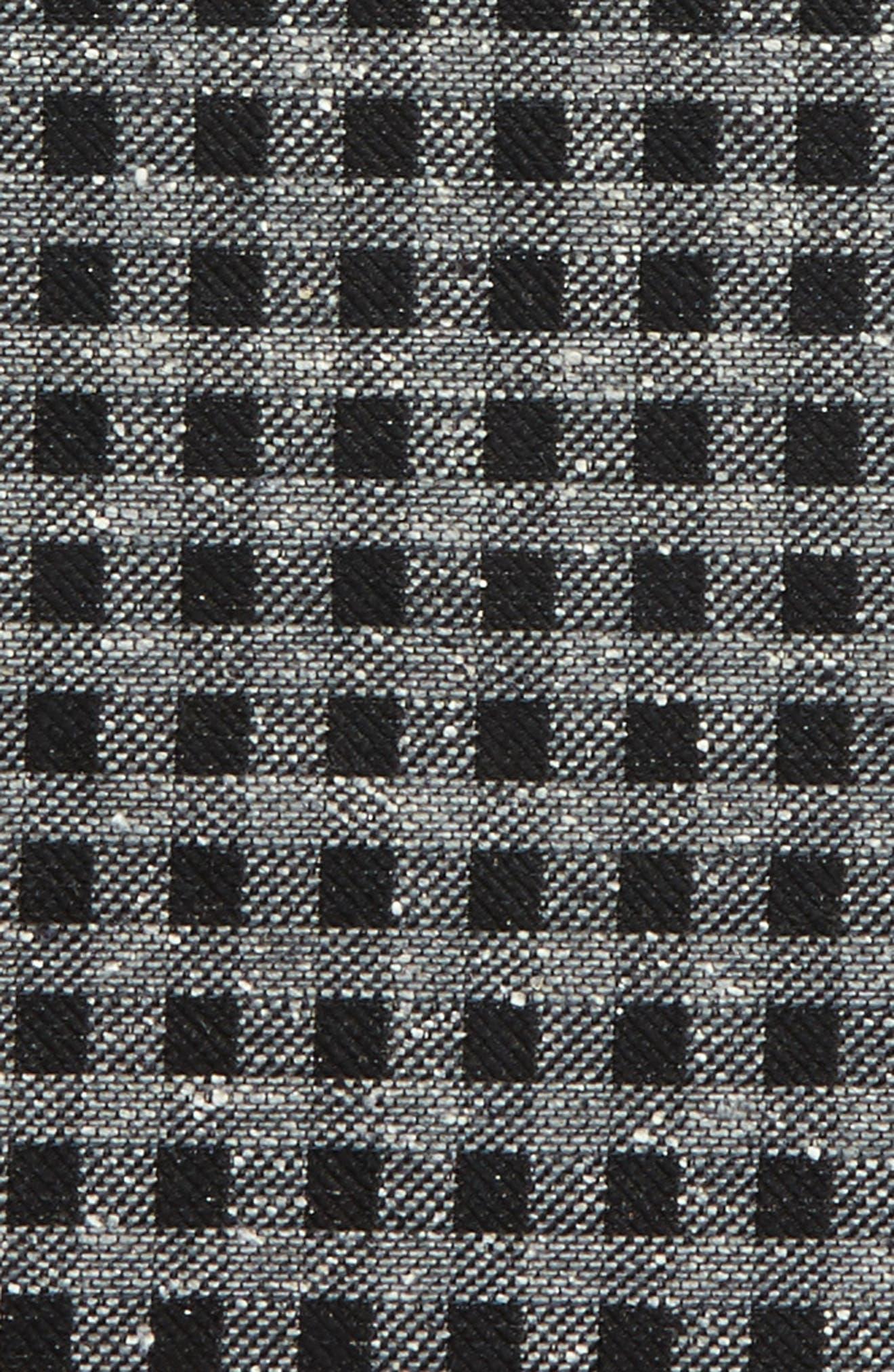 Cement Checks Silk Pocket Square,                             Alternate thumbnail 3, color,                             001