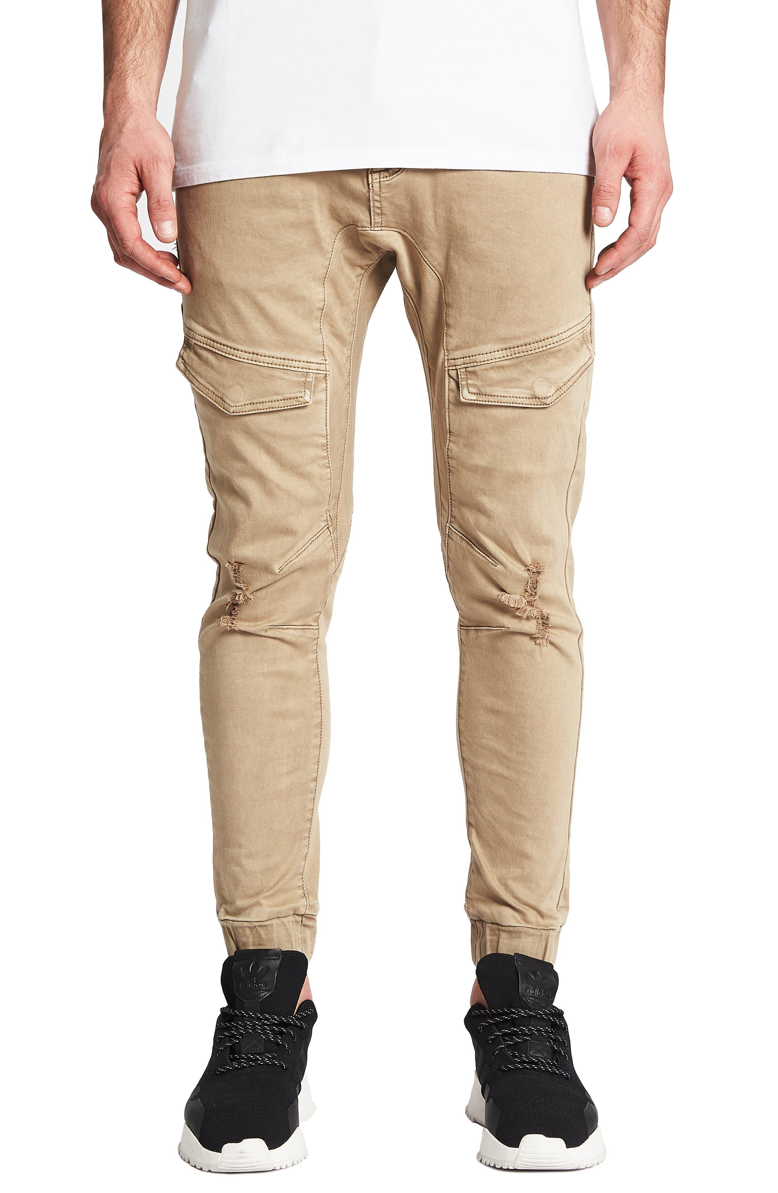 NXP Flight Skinny Denim Jogger Pants in Oxford Tan