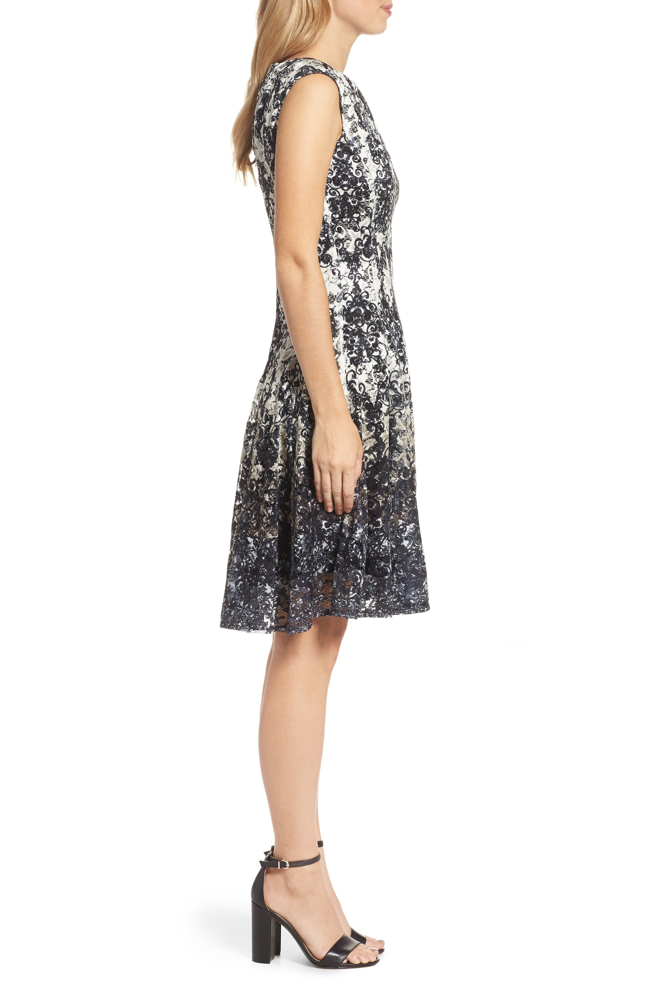 Lace Fit & Flare Dress,                             Alternate thumbnail 3, color,
