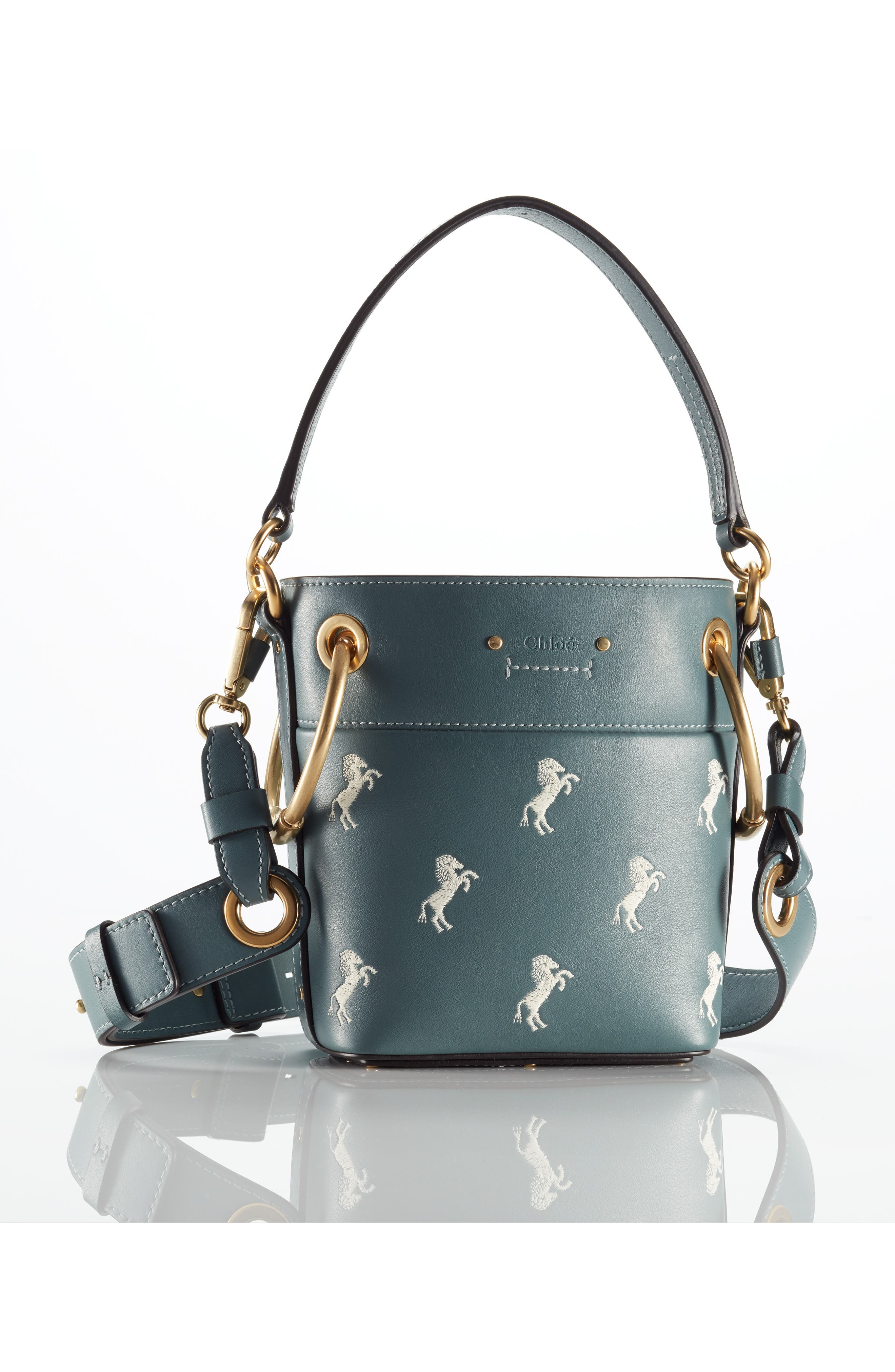 Roy Mini Embroidered Leather Bucket Bag,                             Alternate thumbnail 7, color,                             CLOUDY BLUE