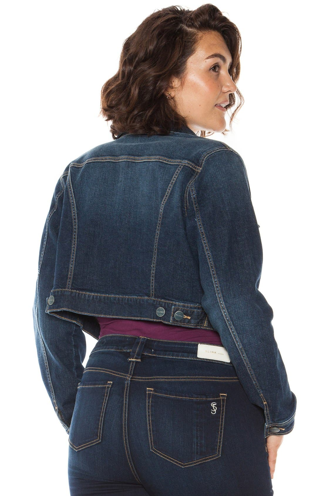 Crop Denim Jacket,                             Alternate thumbnail 3, color,                             SHERRY