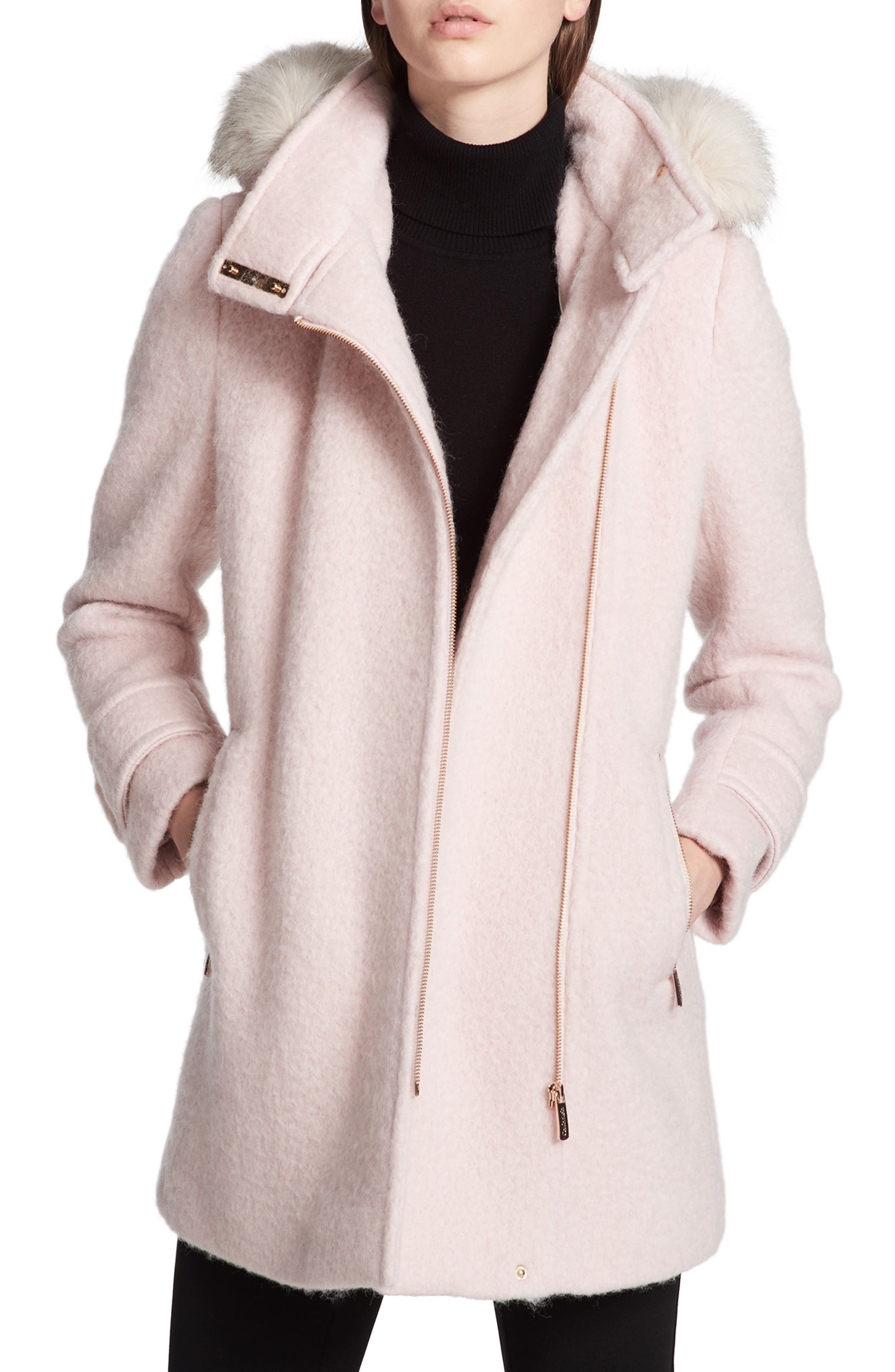 Hooded Wool Blend Jacket with Faux Fur Trim,                             Main thumbnail 3, color,