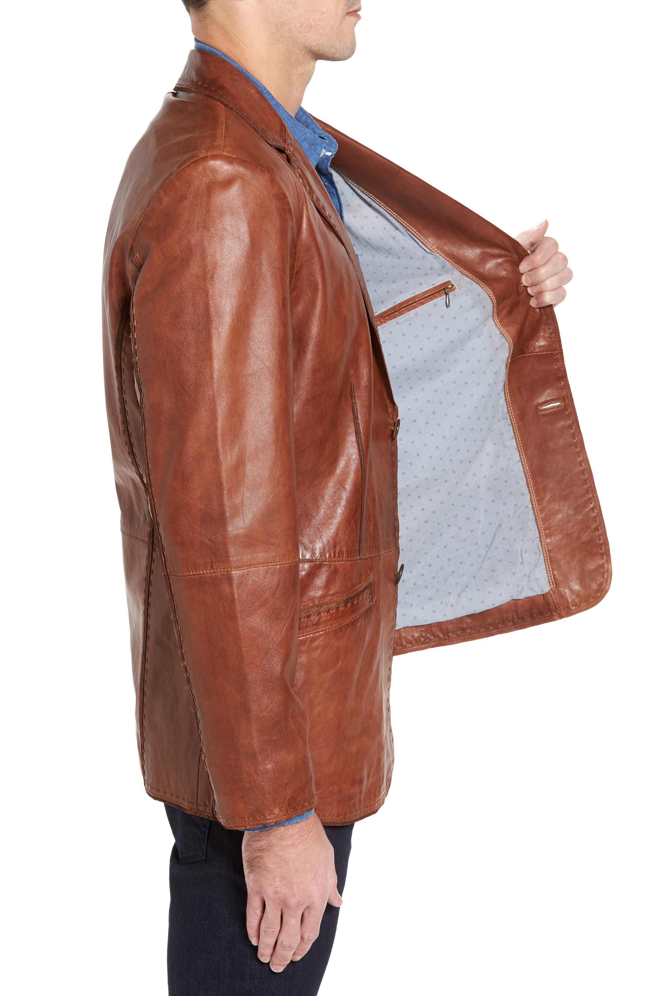 Lamb Leather Blazer,                             Alternate thumbnail 3, color,                             210