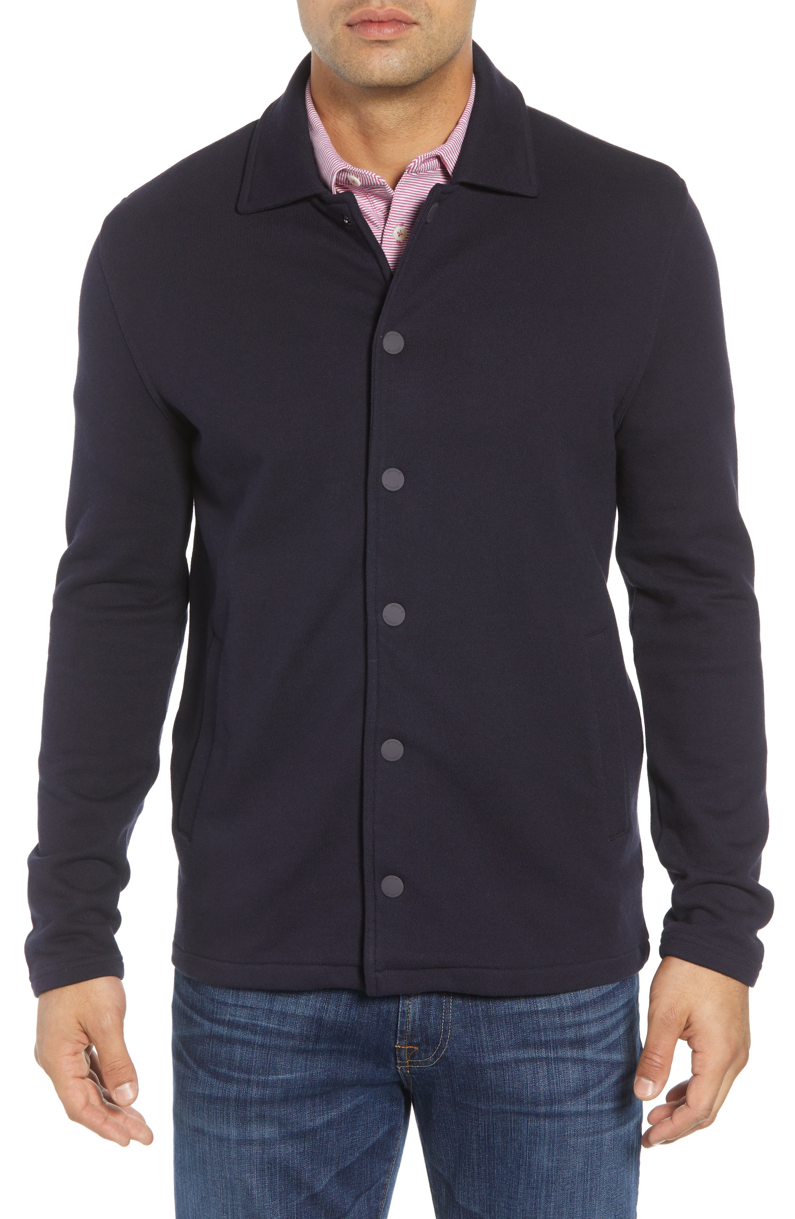 Norfolk Classic Fit Terry Jacket,                             Alternate thumbnail 4, color,                             464