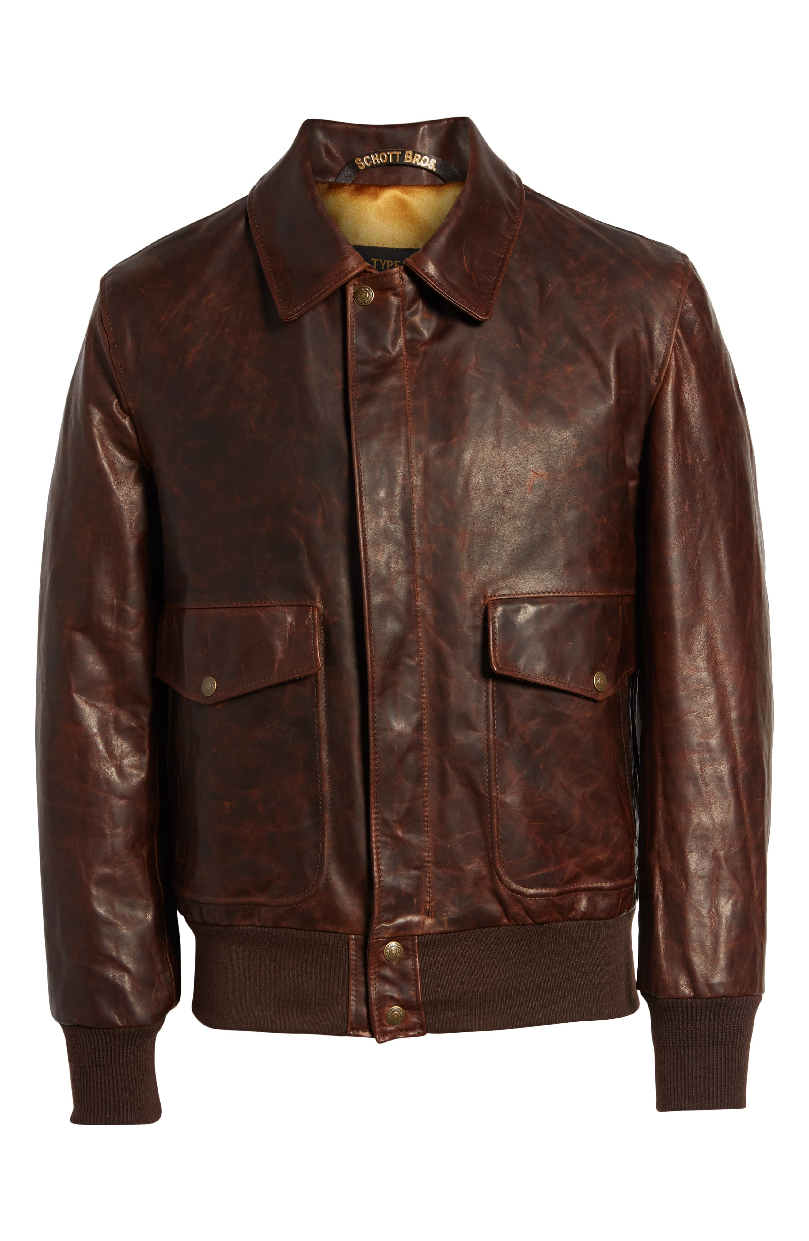Vintage Oiled Cowhide Leather Flight Jacket,                             Alternate thumbnail 6, color,                             200