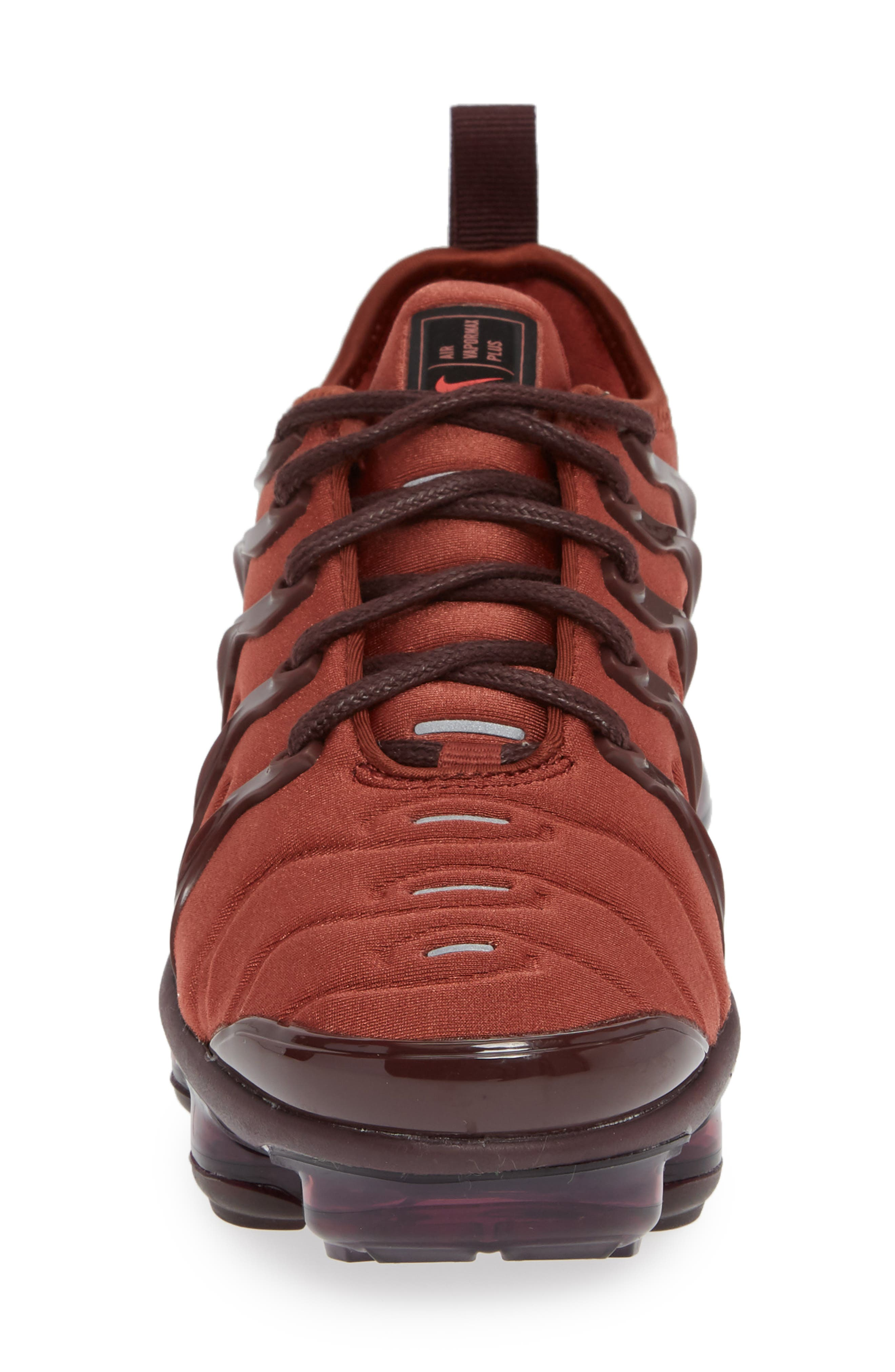 Air VaporMax Plus Sneaker,                             Alternate thumbnail 4, color,                             BURNT ORANGE/ RED-BURGUNDY