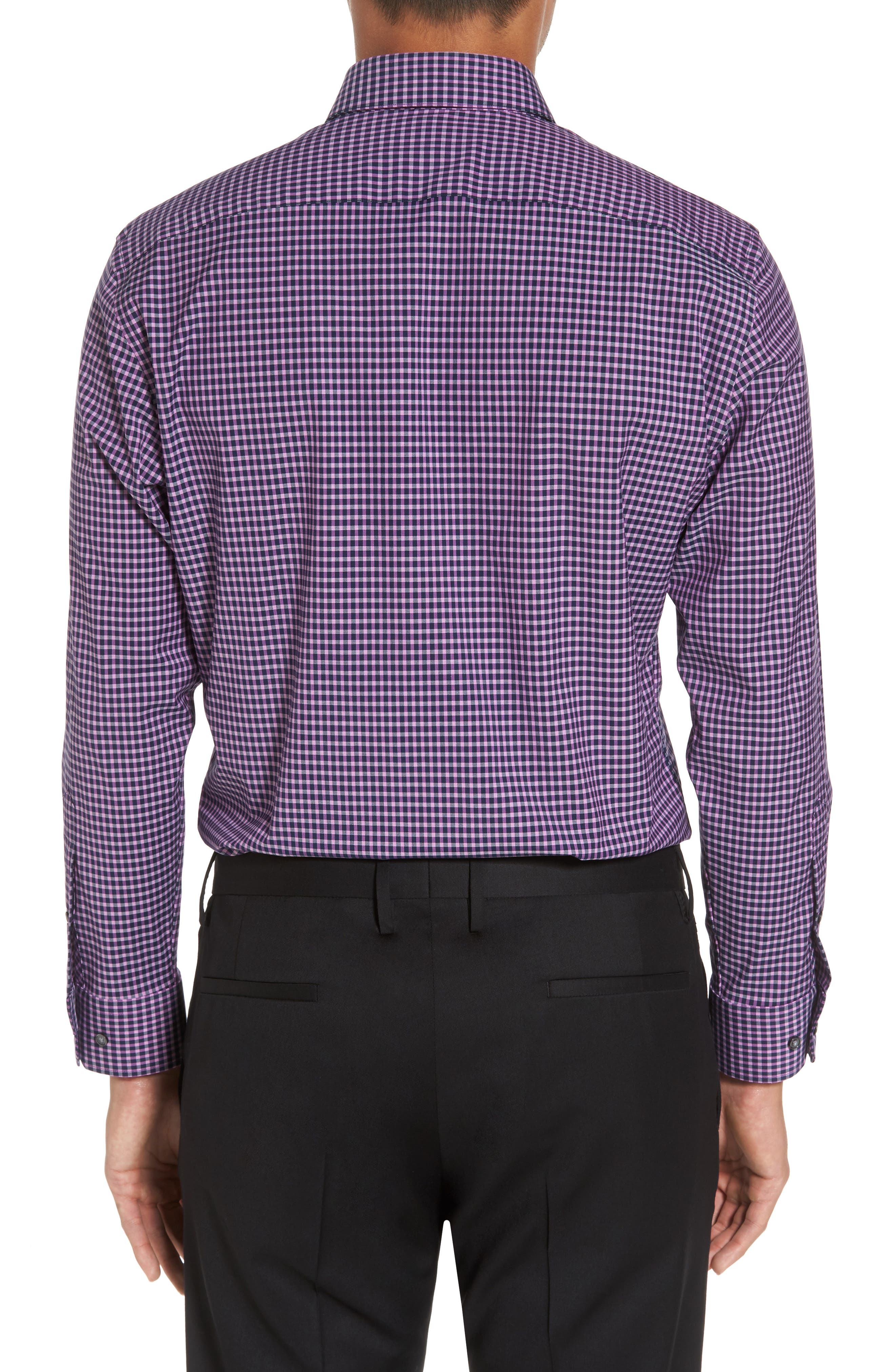 Trim Fit Non-Iron Check Stretch Dress Shirt,                             Alternate thumbnail 2, color,