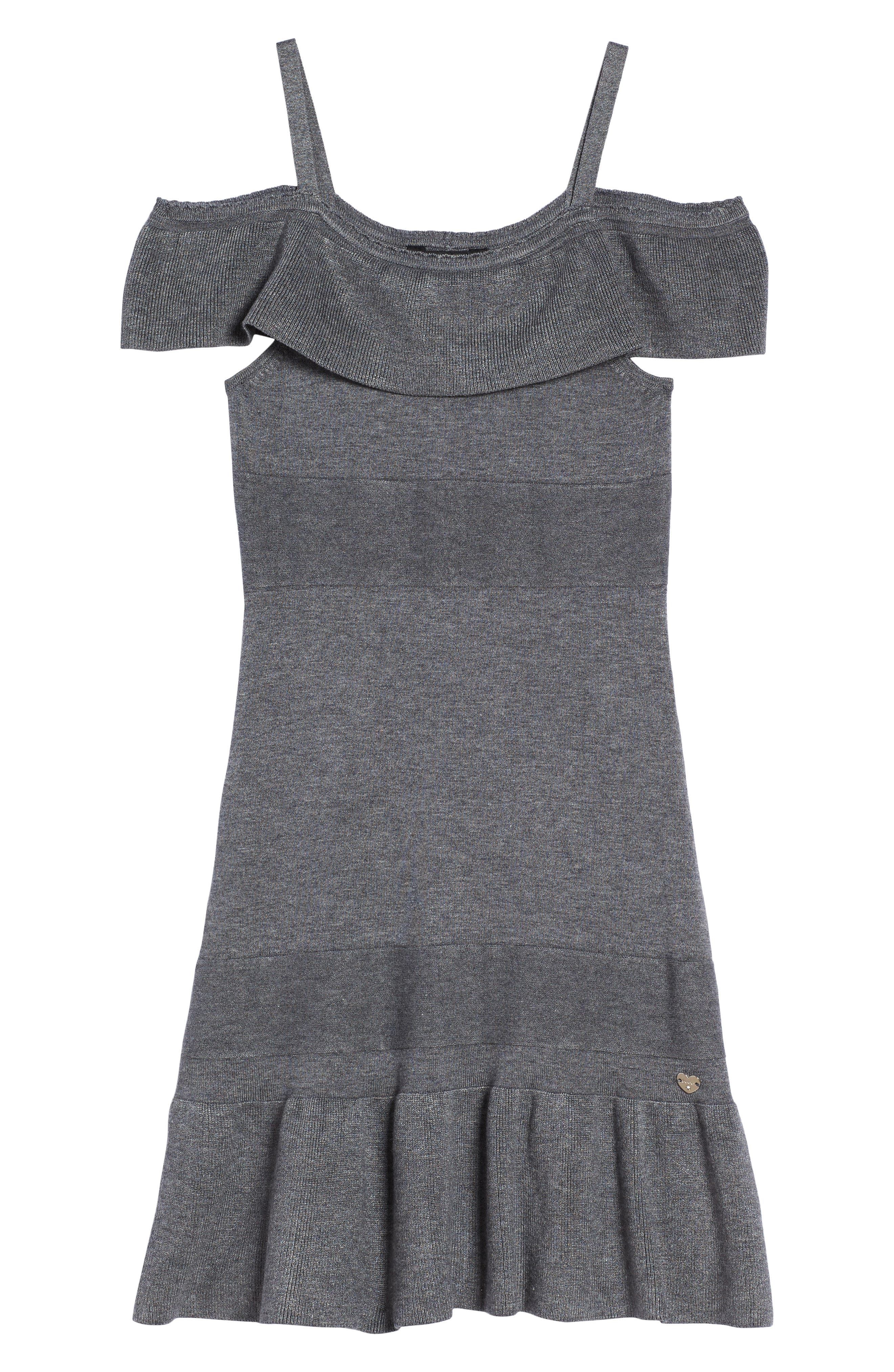 Ruffle Cold Shoulder Dress,                             Main thumbnail 1, color,                             020