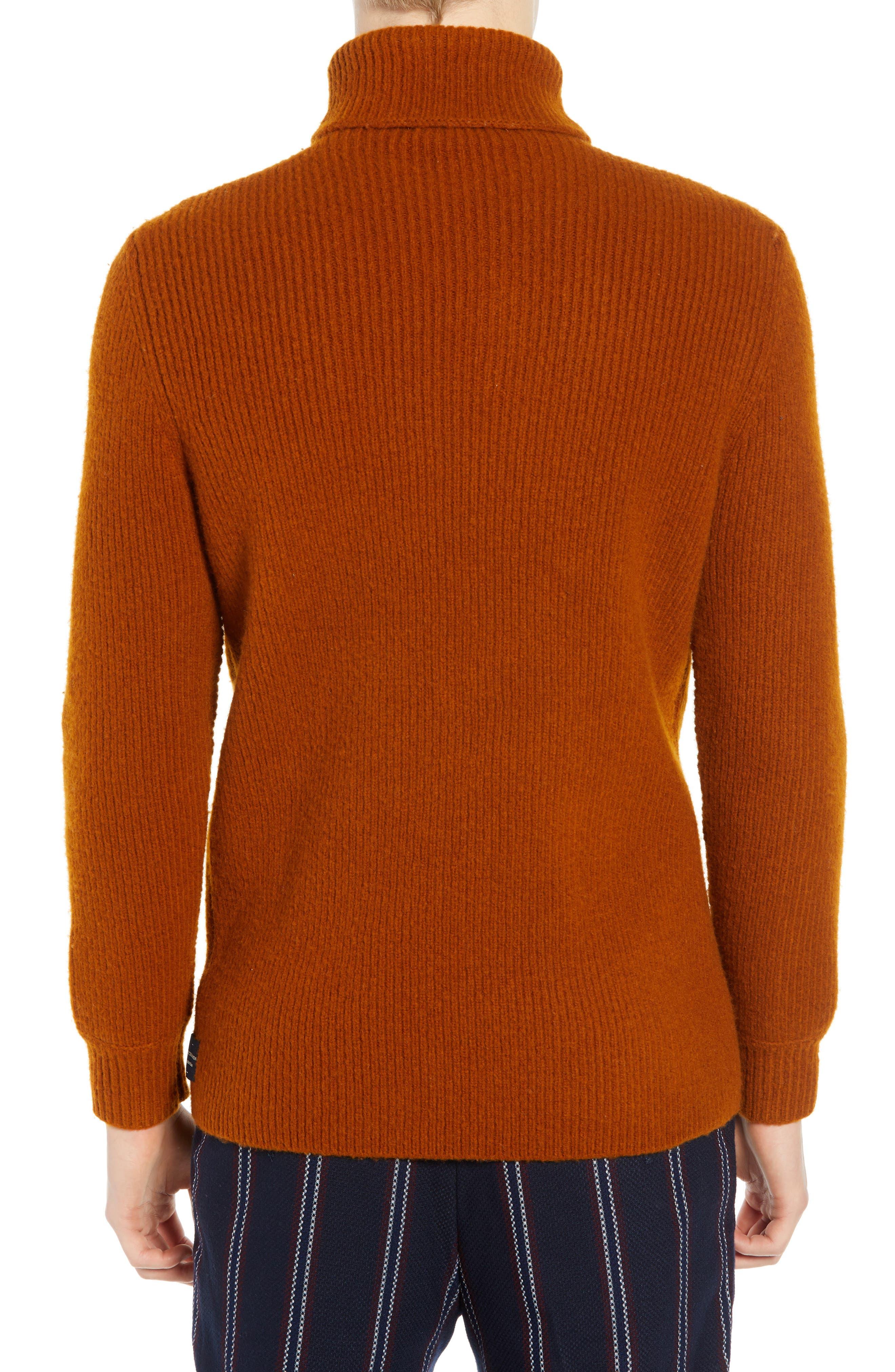 Wool Blend Turtleneck Sweater,                             Alternate thumbnail 2, color,                             RUSSET BROWN