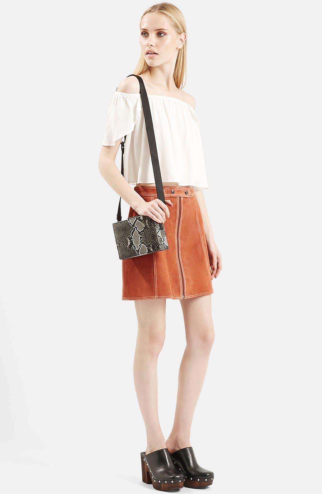 Suede A-Line Miniskirt,                             Alternate thumbnail 2, color,                             610