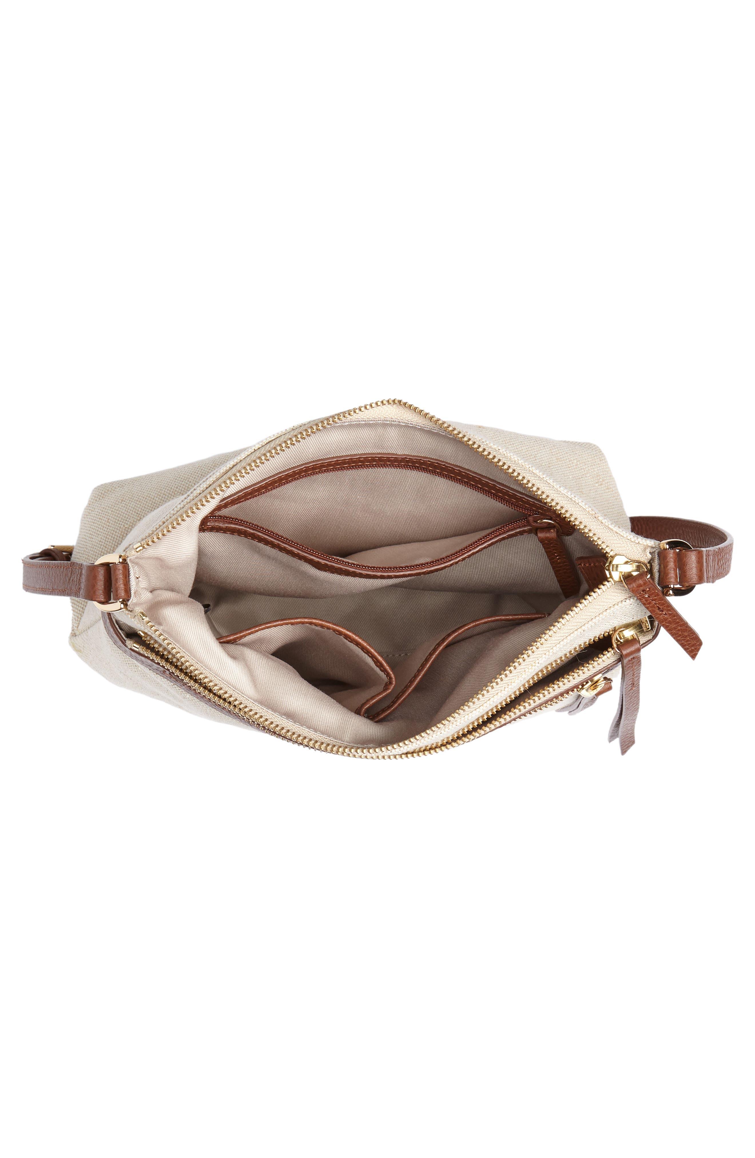 Kaison Linen & Leather Crossbody Bag,                             Alternate thumbnail 4, color,                             NATURAL/ GOLD