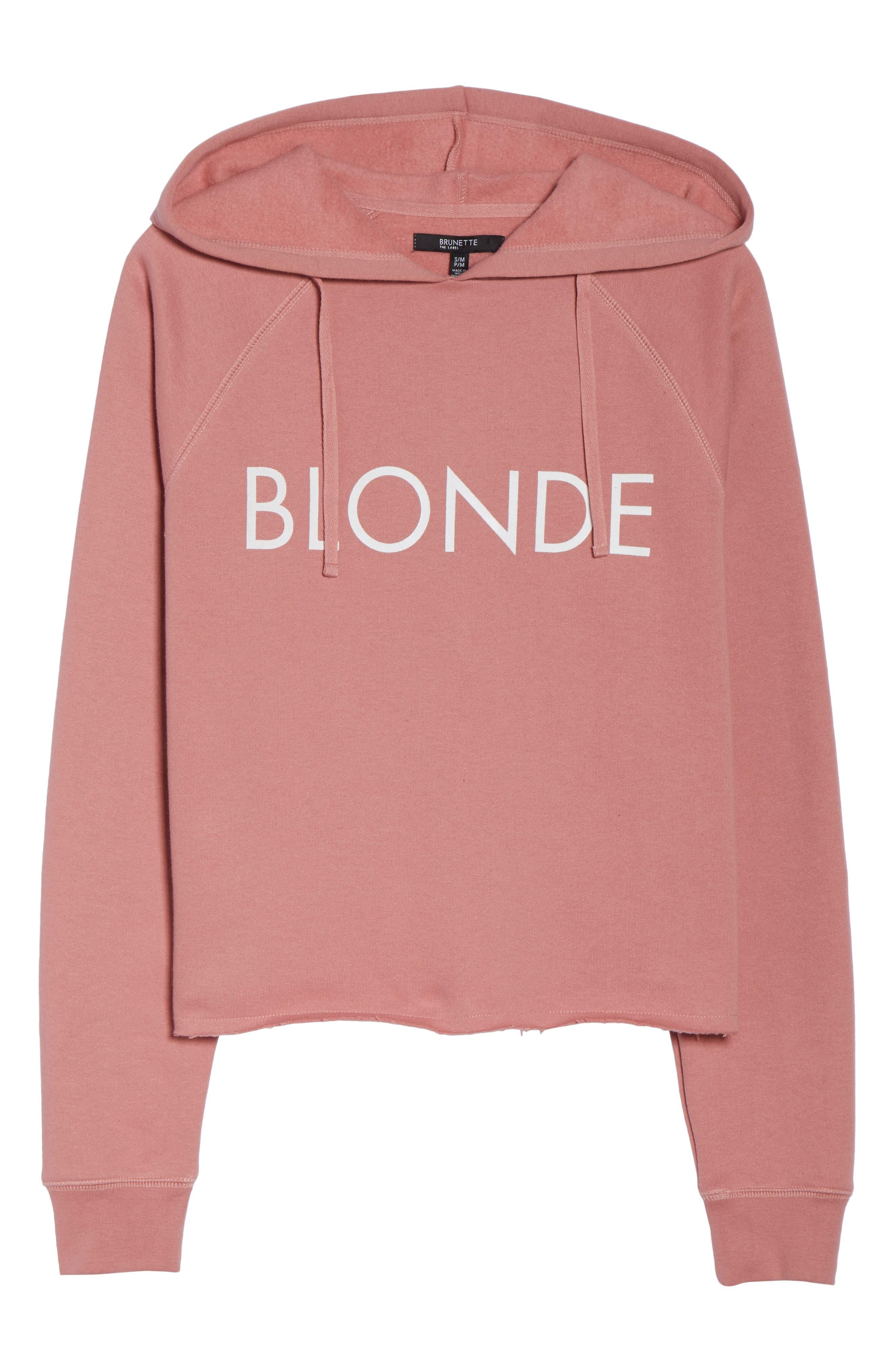 Blondie Raw Hem Hoodie,                             Alternate thumbnail 6, color,                             DUSTY ROSE