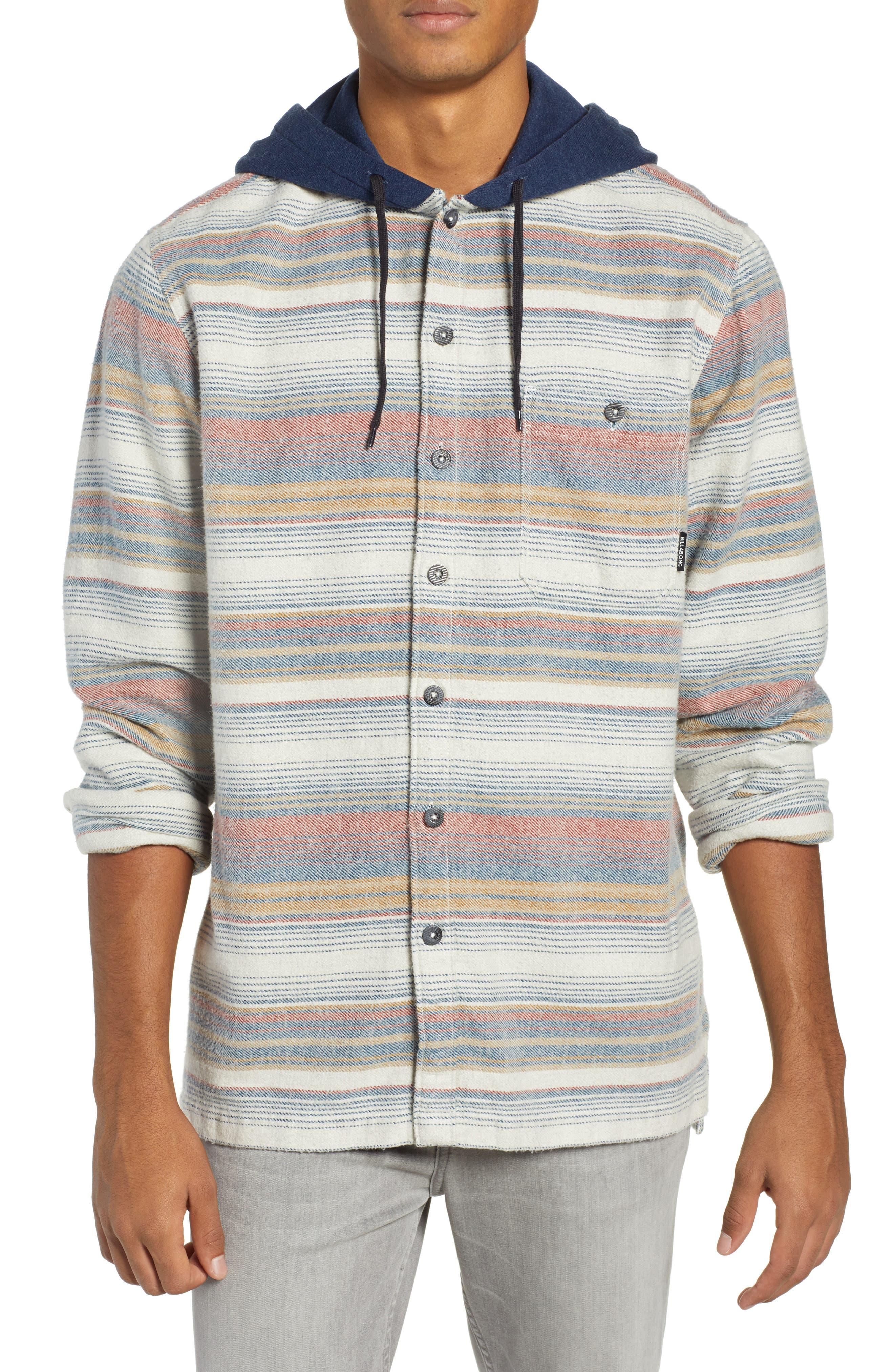 Billabong Baja Hooded Flannel Shirt, Beige