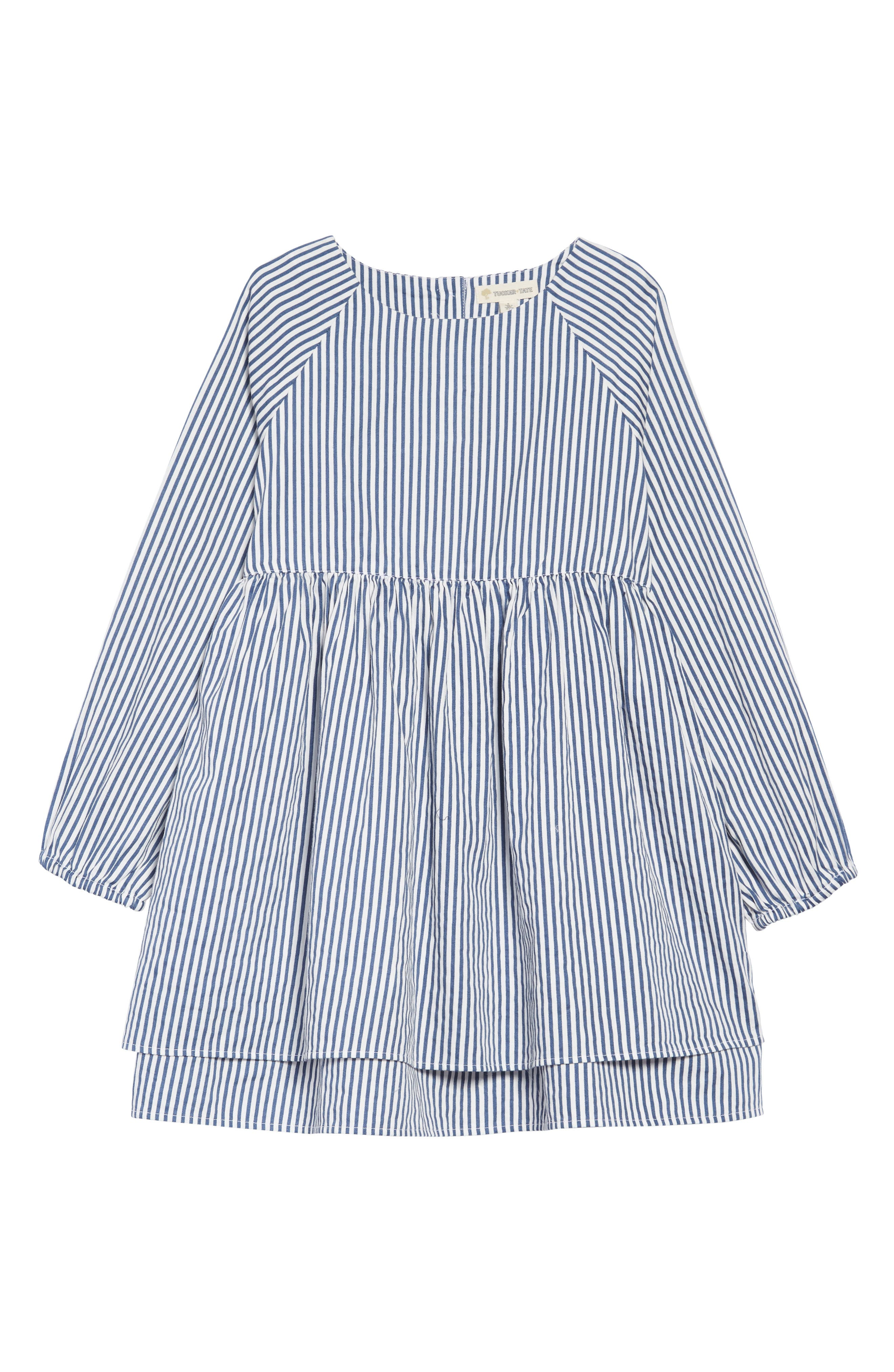 Woven Stripe Dress,                             Main thumbnail 1, color,                             WHITE- NAVY STRIPE
