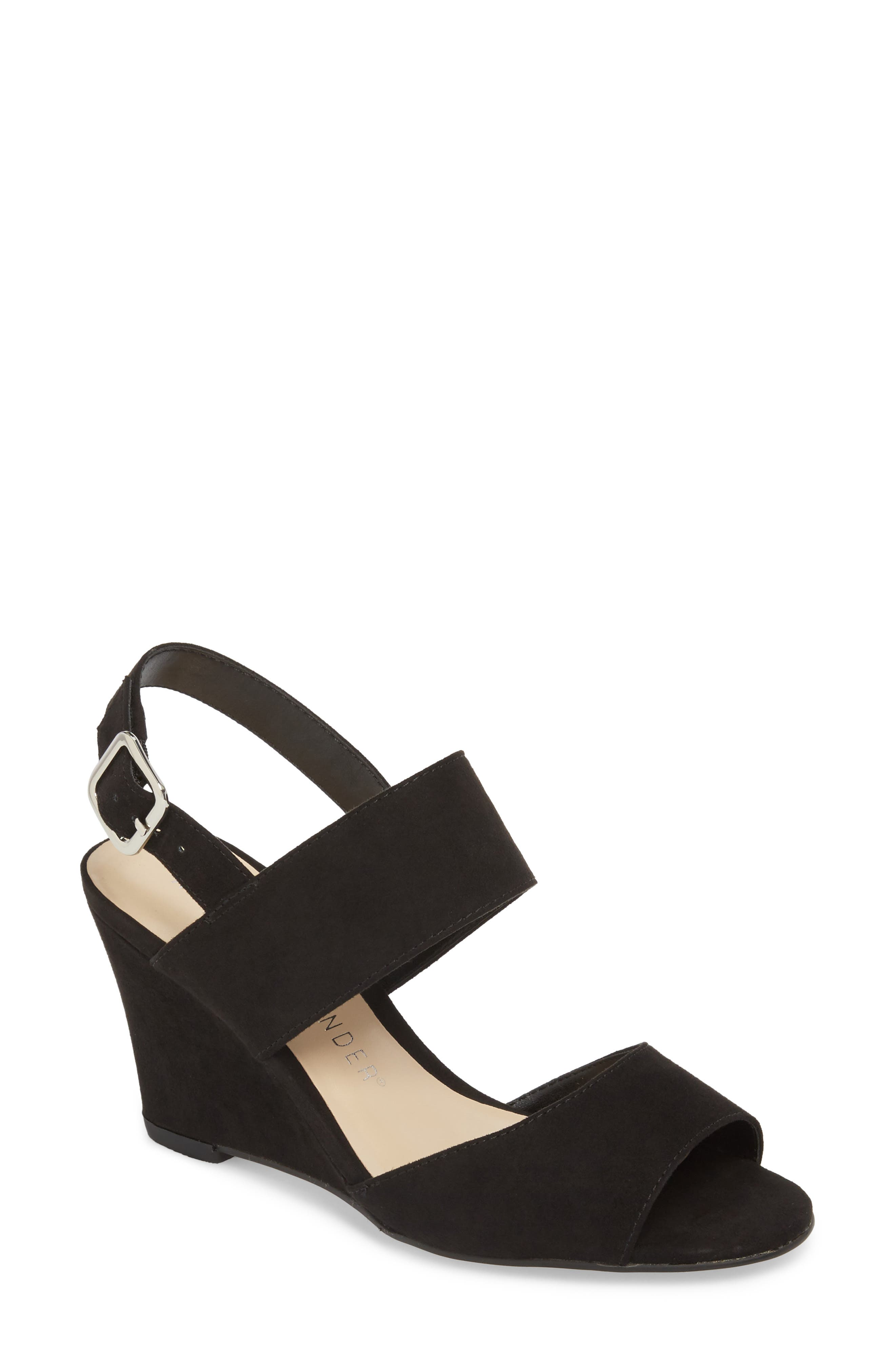Slayte Wedge Sandal,                         Main,                         color, BLACK FAUX SUEDE