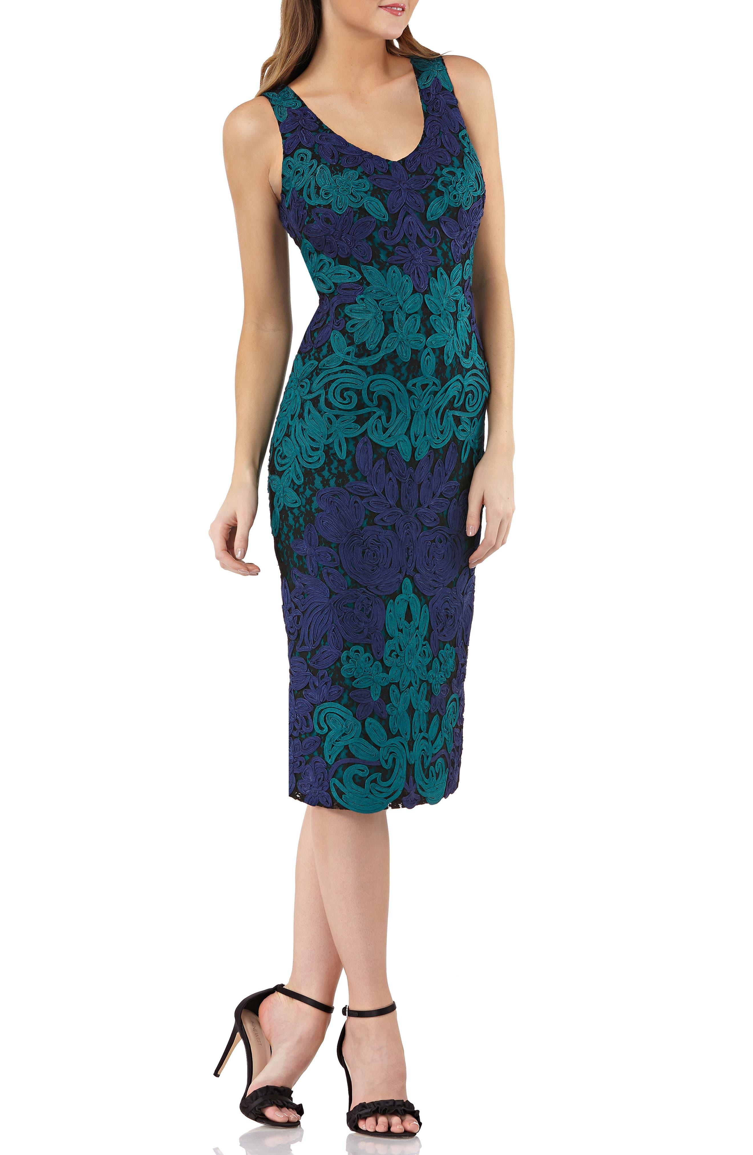 Js Collections V-Neck Colorblock Soutache Sheath Dress, Blue/green