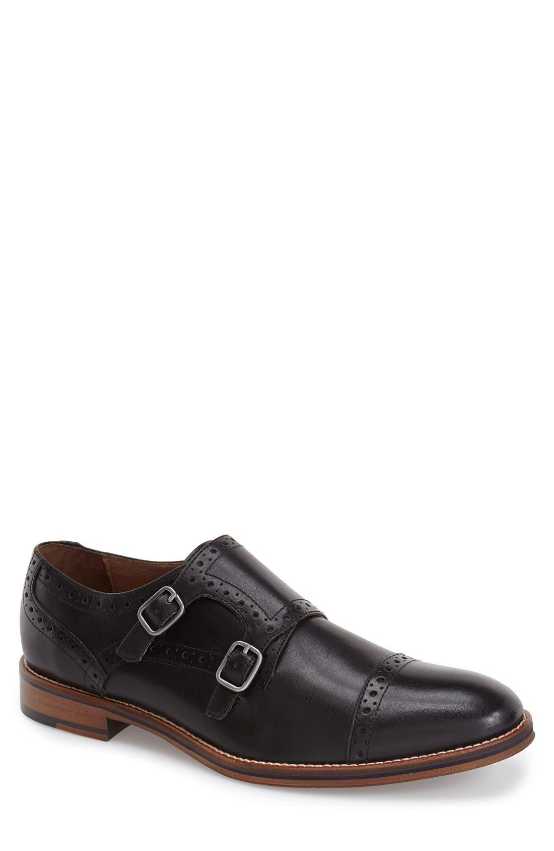 Conard Double Monk Strap Slip-On,                         Main,                         color, BLACK