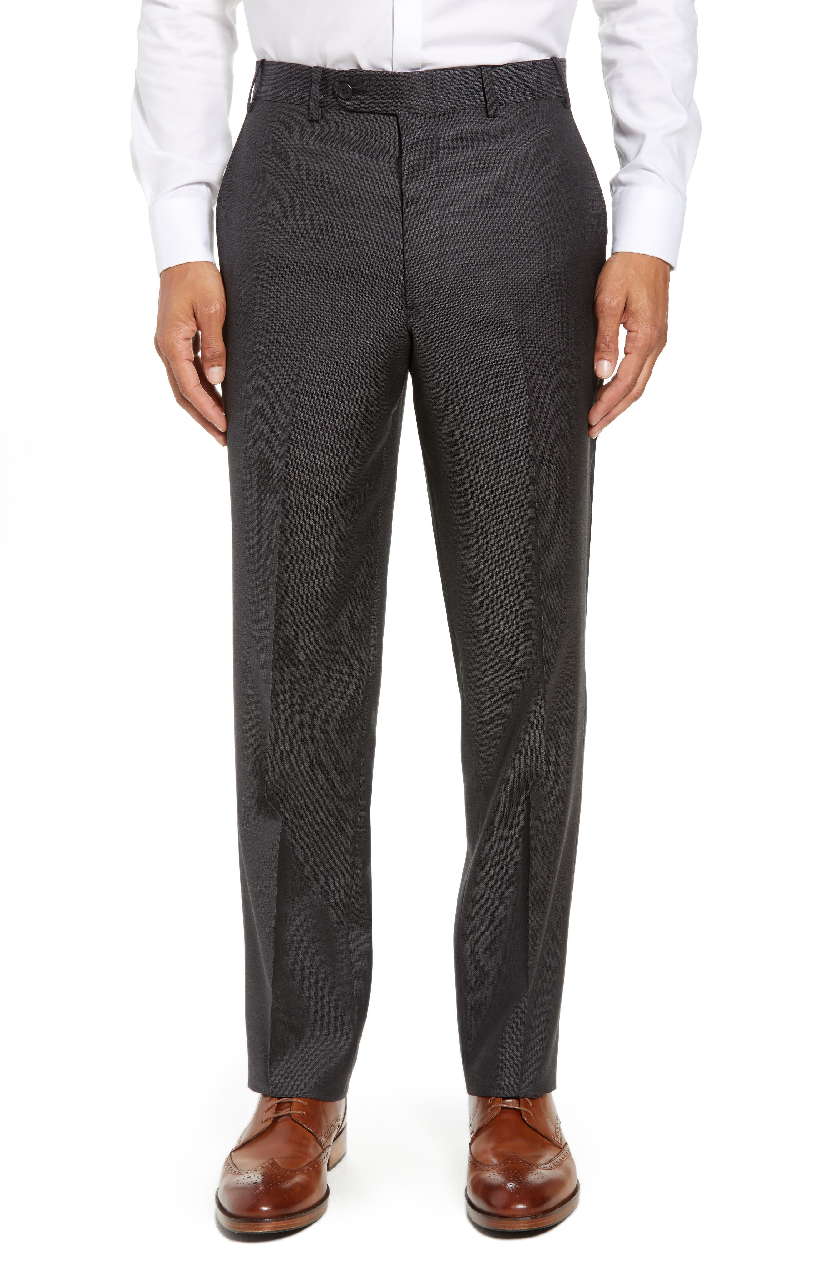 Torino Traditional Fit Flat Front Solid Wool Trousers,                             Main thumbnail 1, color,                             BLACK