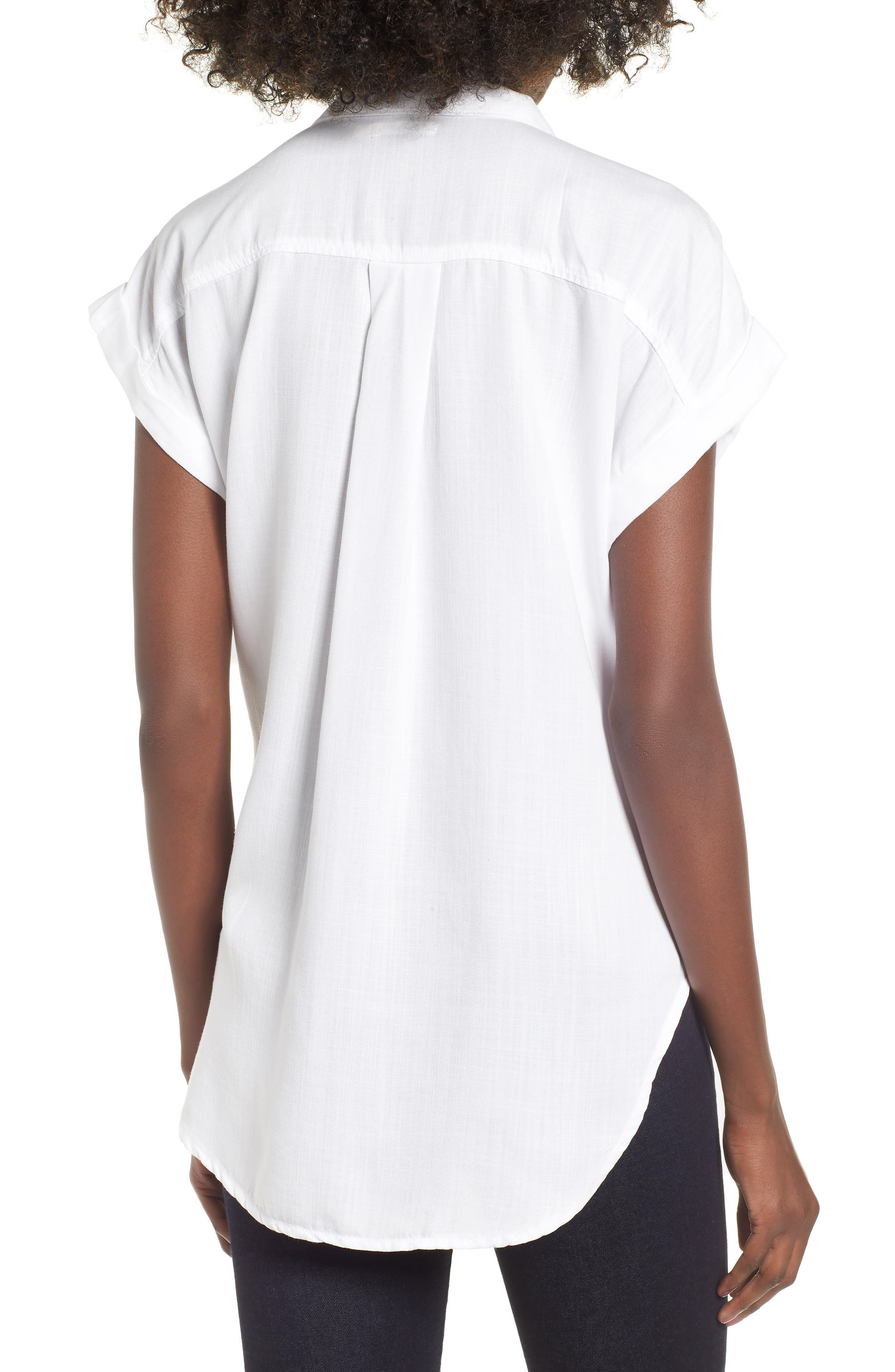 Cap Sleeve Shirt,                             Alternate thumbnail 2, color,                             WHITE