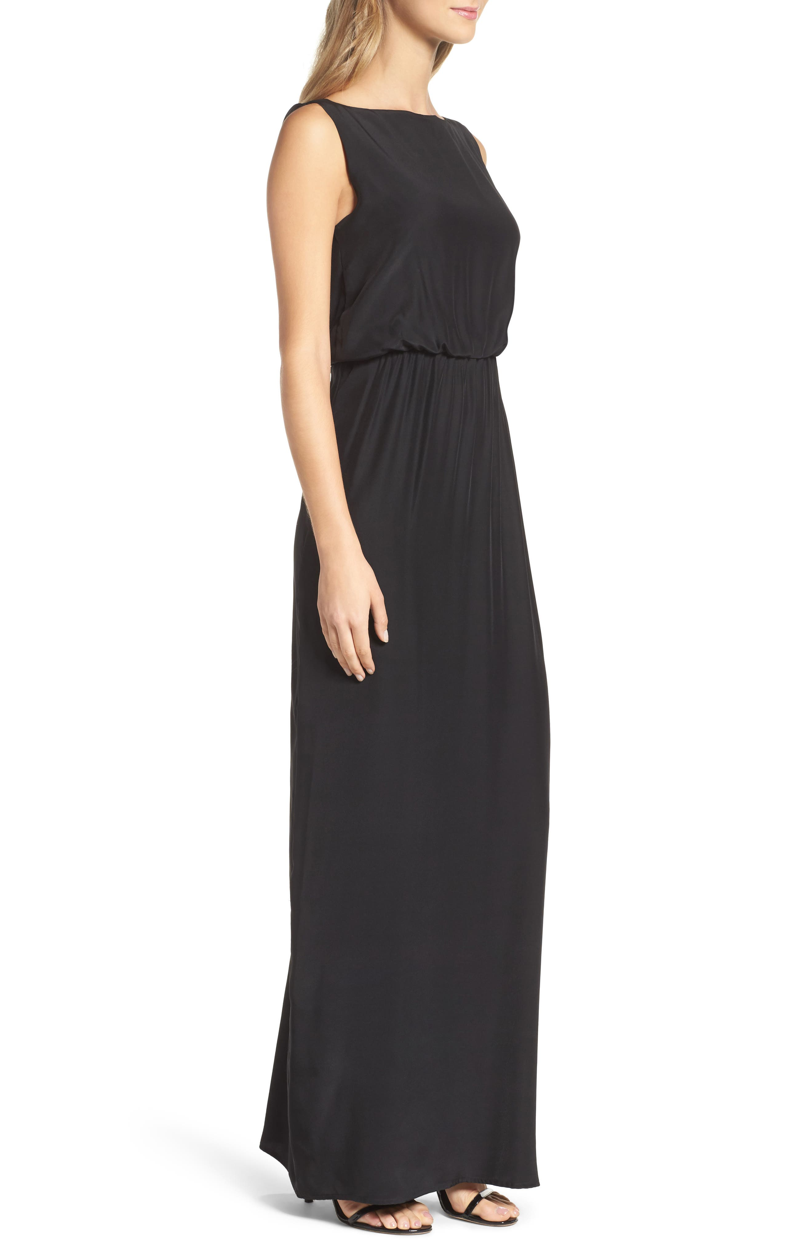 Drape Back Silk Column Gown,                             Alternate thumbnail 3, color,                             001