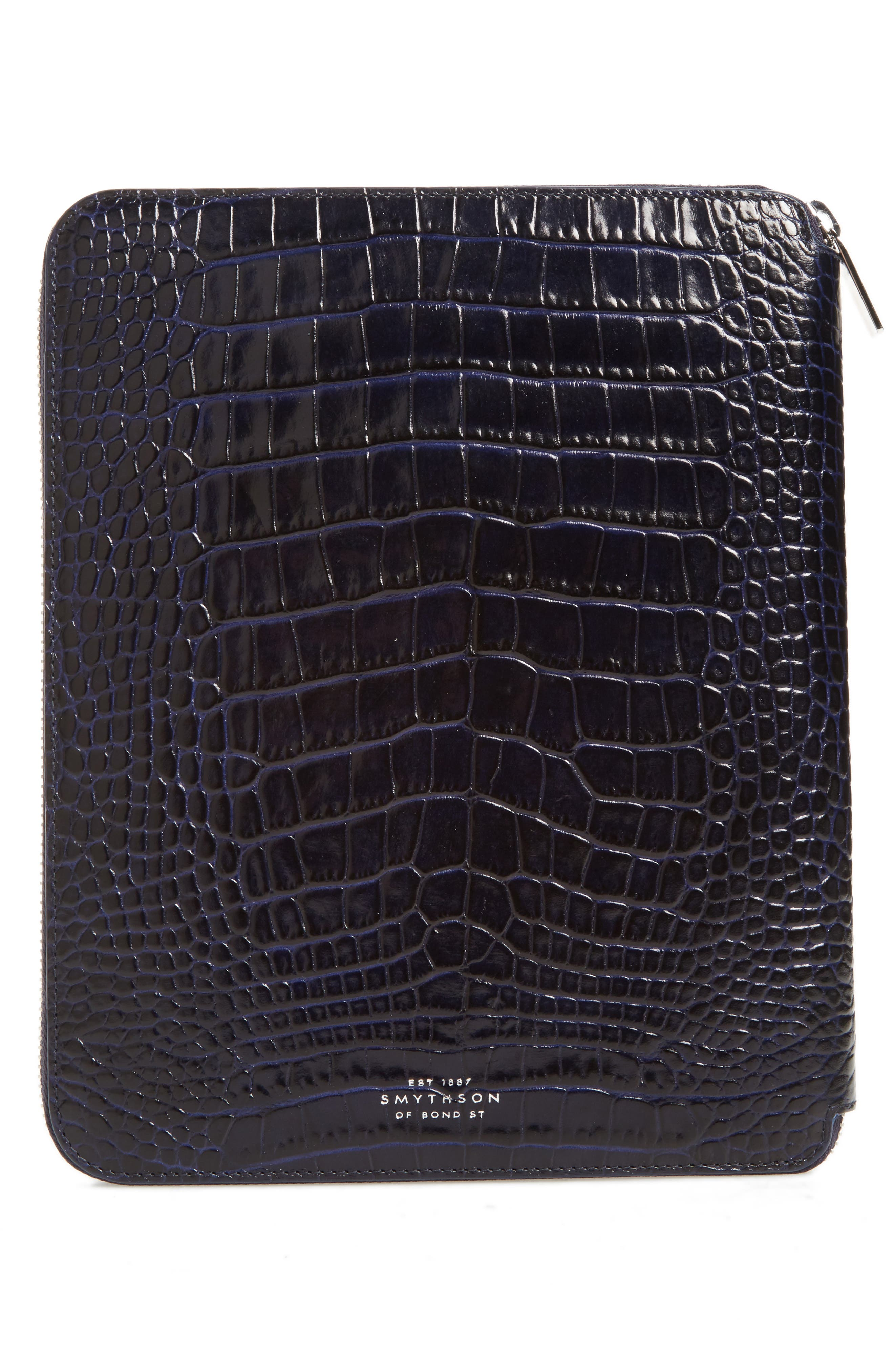 Mara Croc Embossed Zip Folder & A5 Notebook,                             Alternate thumbnail 4, color,                             450
