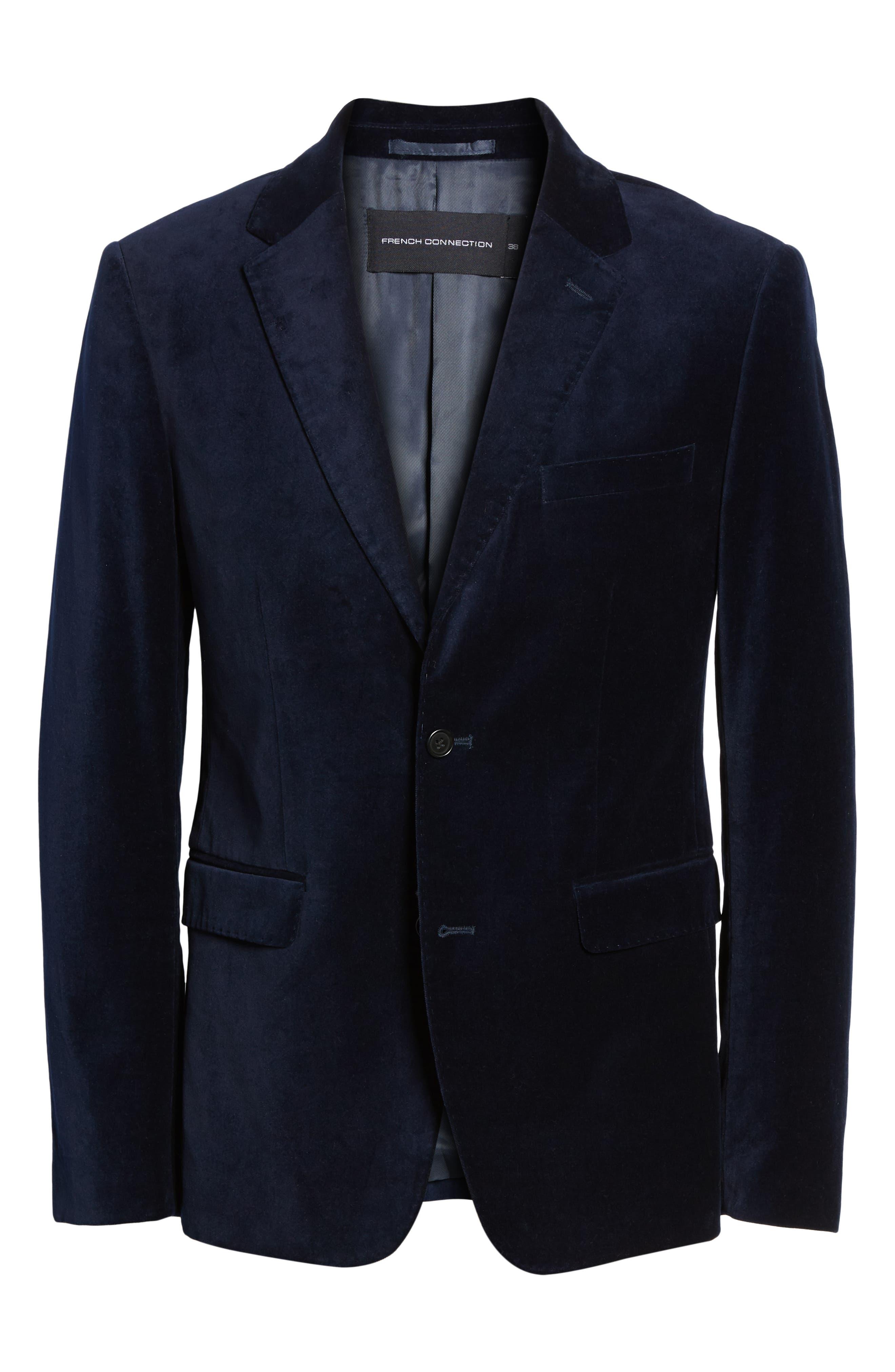 FRENCH CONNECTION,                             Regular Fit Plush Velveteen Blazer,                             Alternate thumbnail 5, color,                             BLUE BLOOD