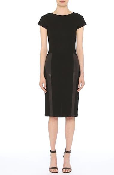 Leather Panel Milano Piqué Knit Dress, video thumbnail