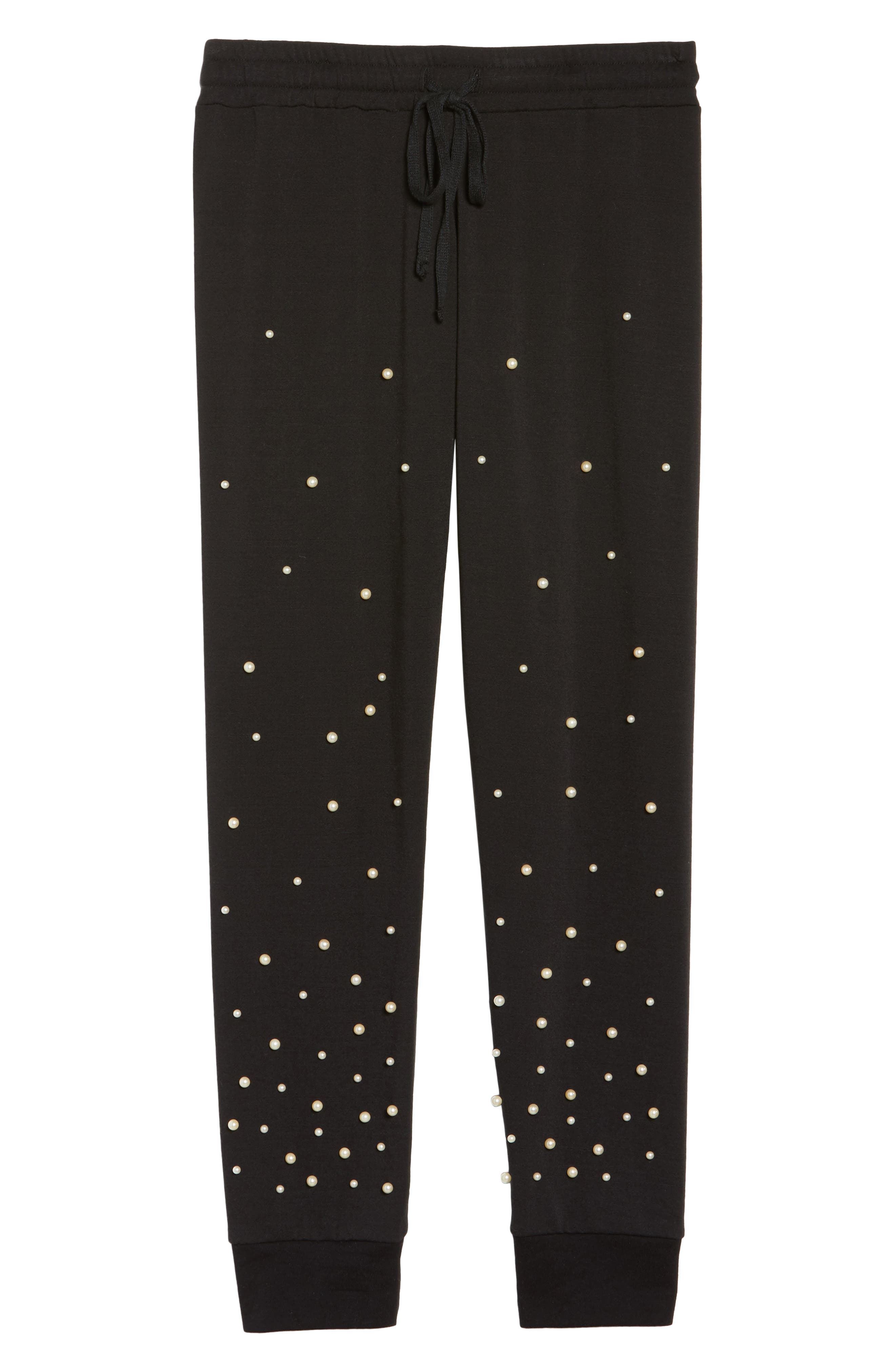 Price Imitation Pearl Embellished Lounge Pants,                             Alternate thumbnail 6, color,                             001