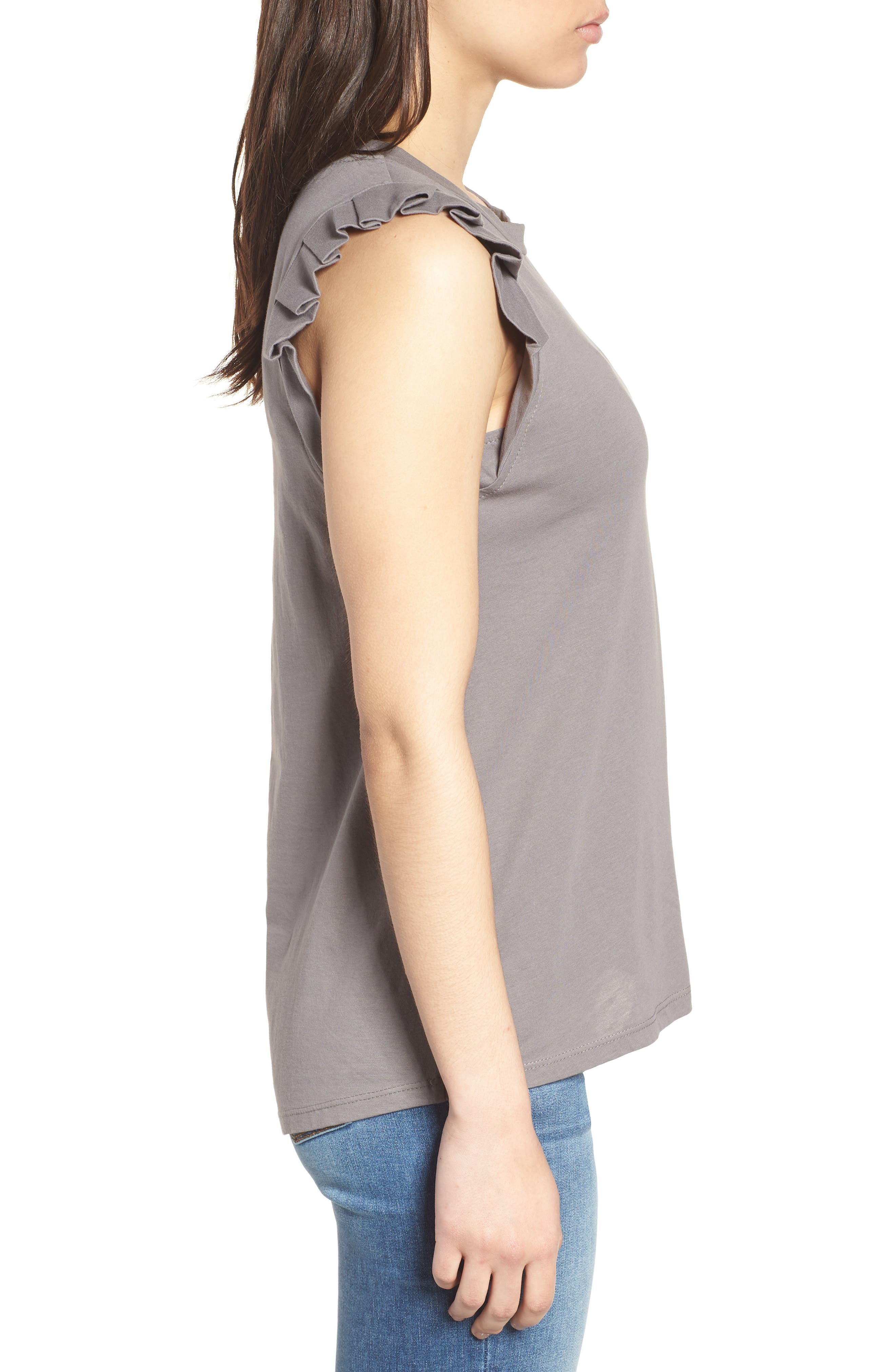 Pleat Ruffle Trim Tank,                             Alternate thumbnail 3, color,                             001