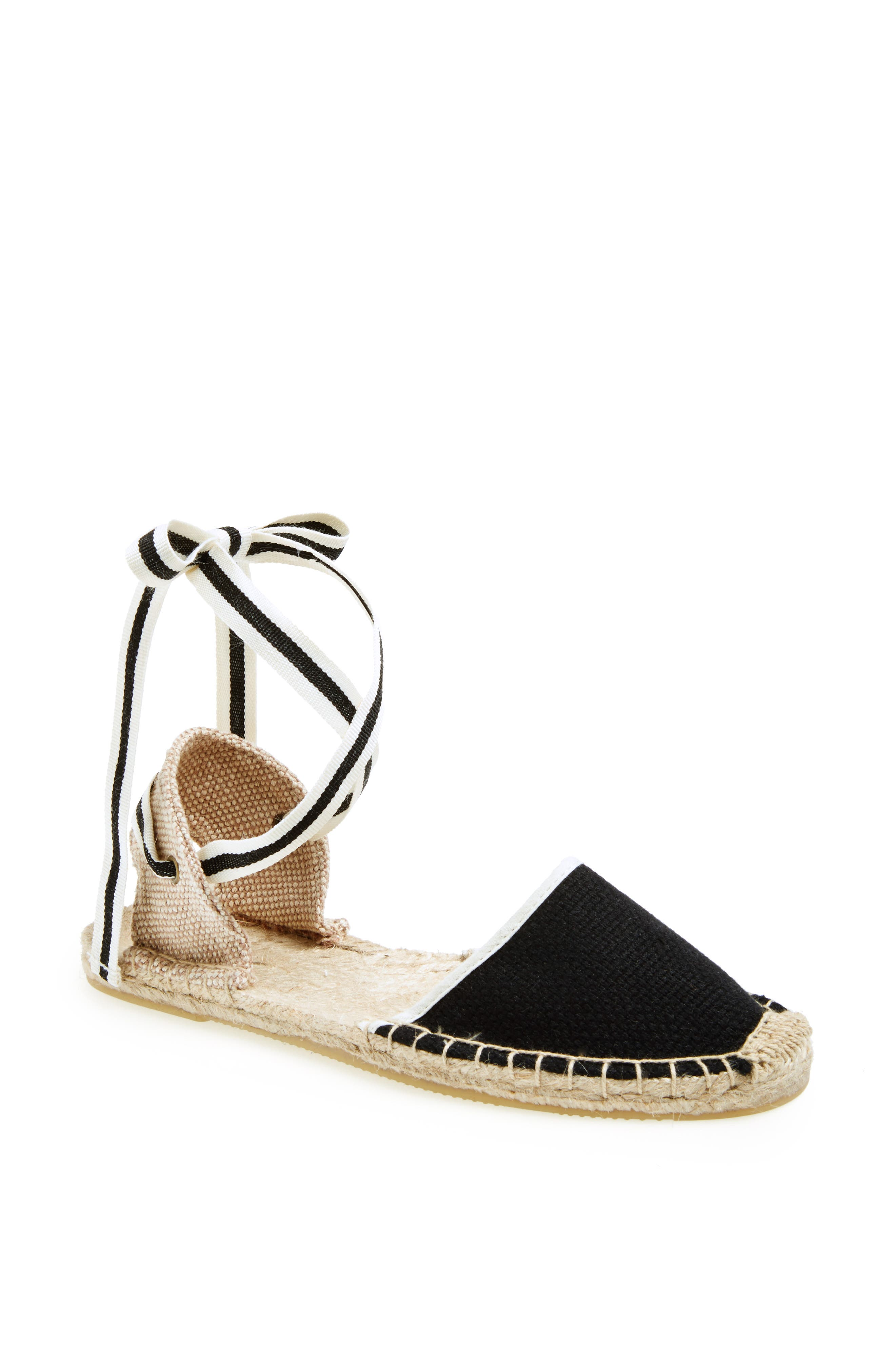 Lace-Up Espadrille Sandal,                             Alternate thumbnail 4, color,                             BLACK LINEN