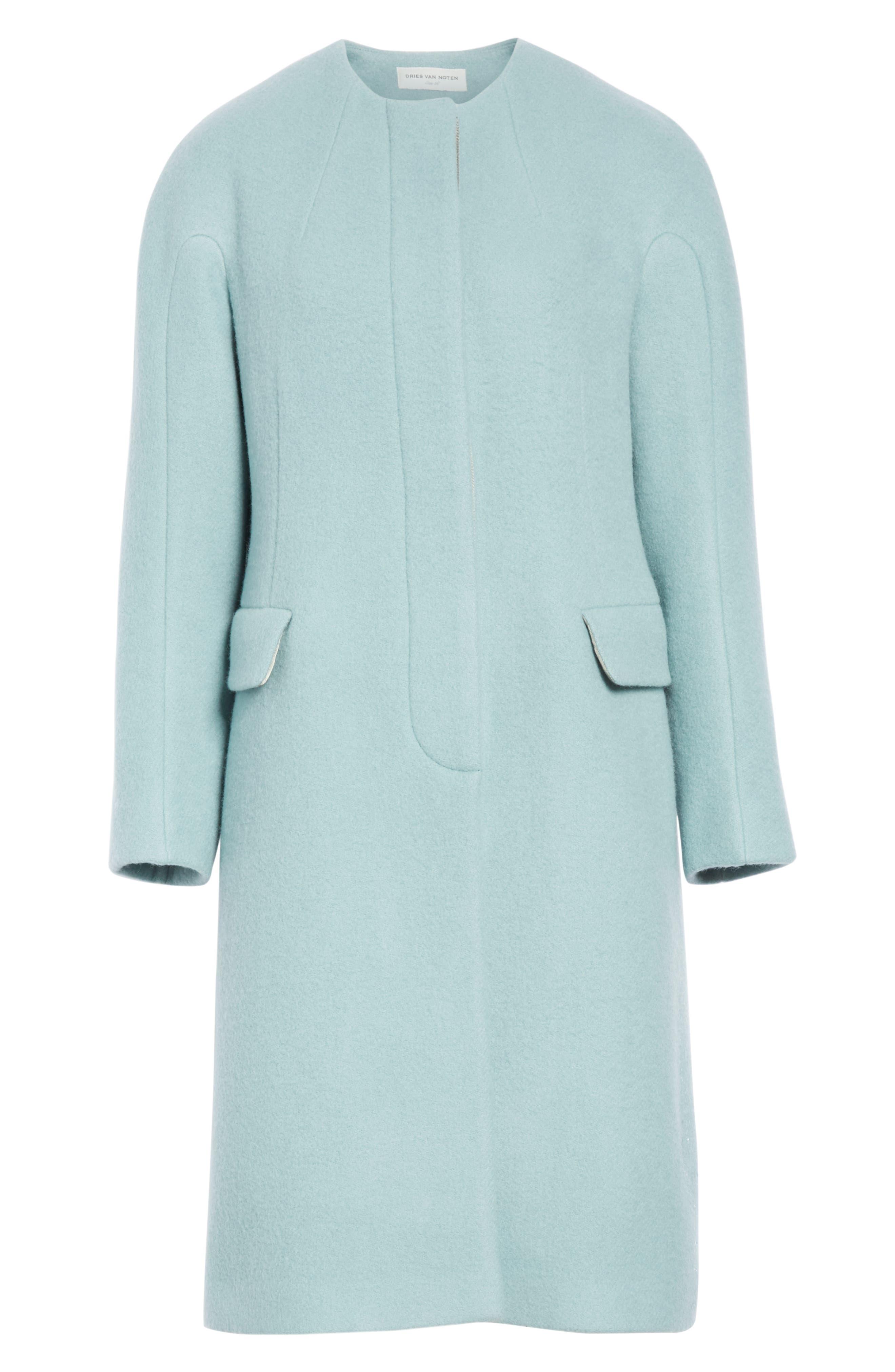 Wool & Mohair Coat,                             Alternate thumbnail 6, color,                             LIGHT BLUE