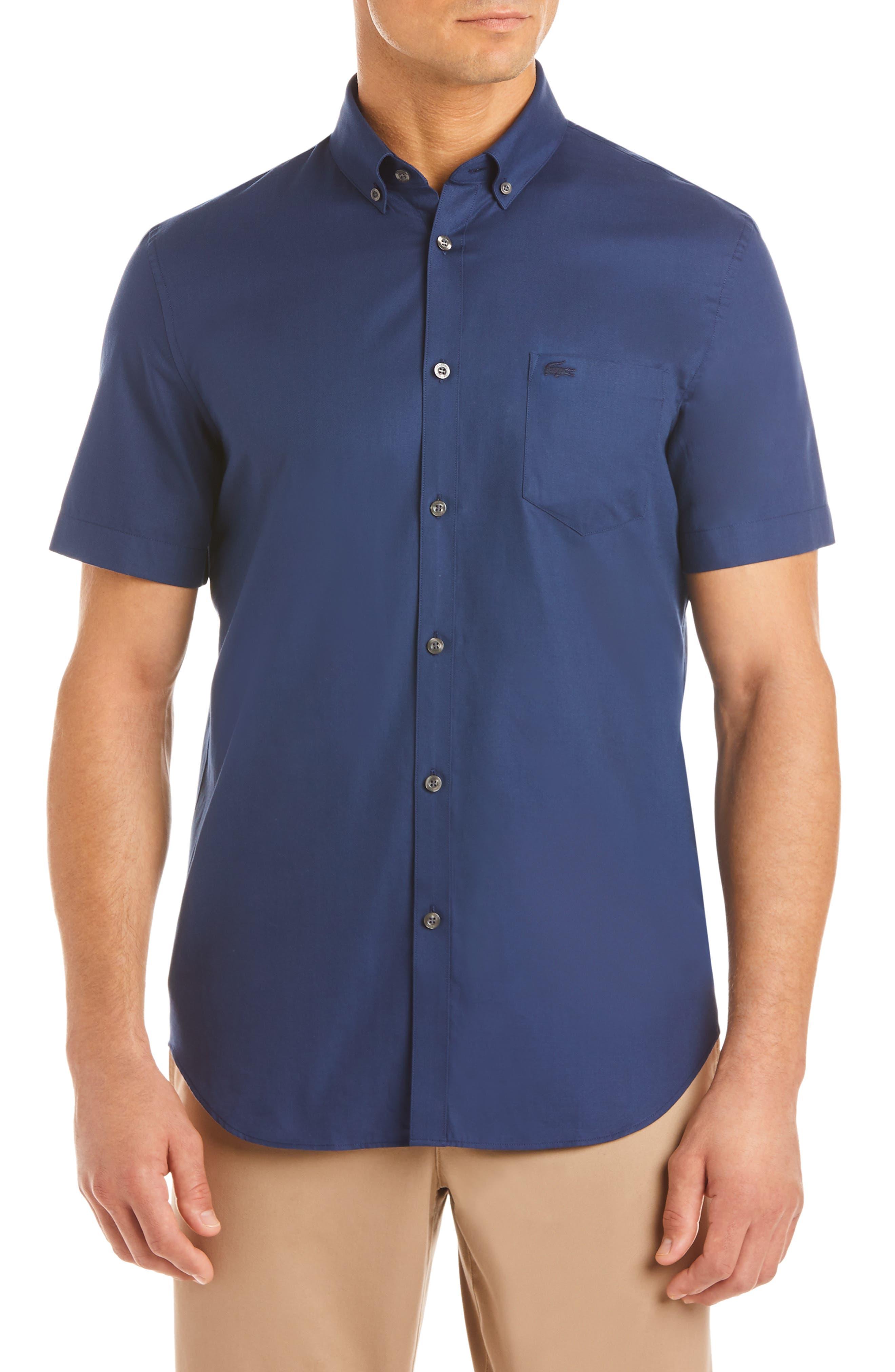 Regular Fit Piqué Sport Shirt, Main, color, PHOENIX BLUE/ LAGOON