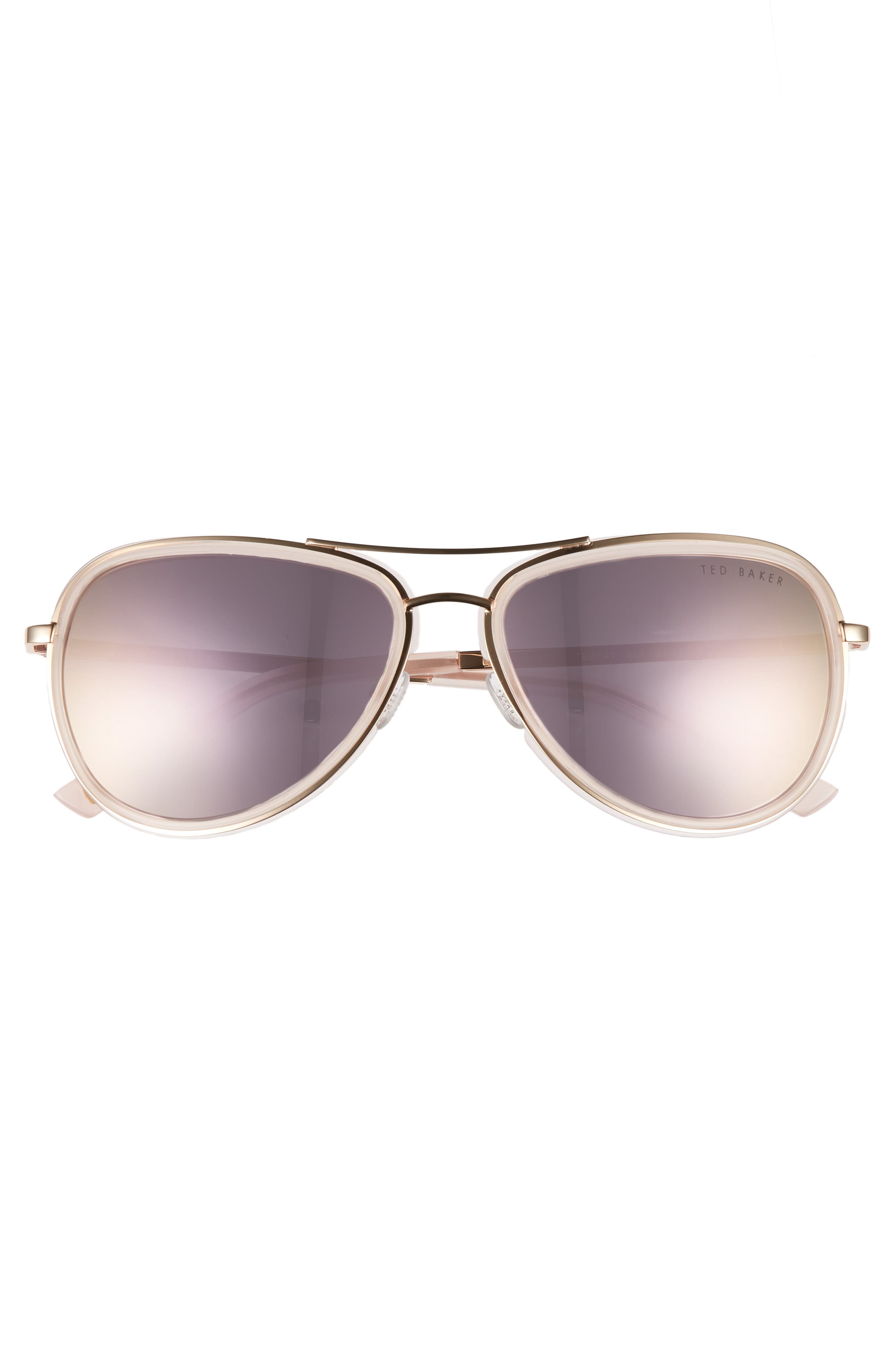 Combination 57mm Aviator Sunglasses,                             Alternate thumbnail 6, color,
