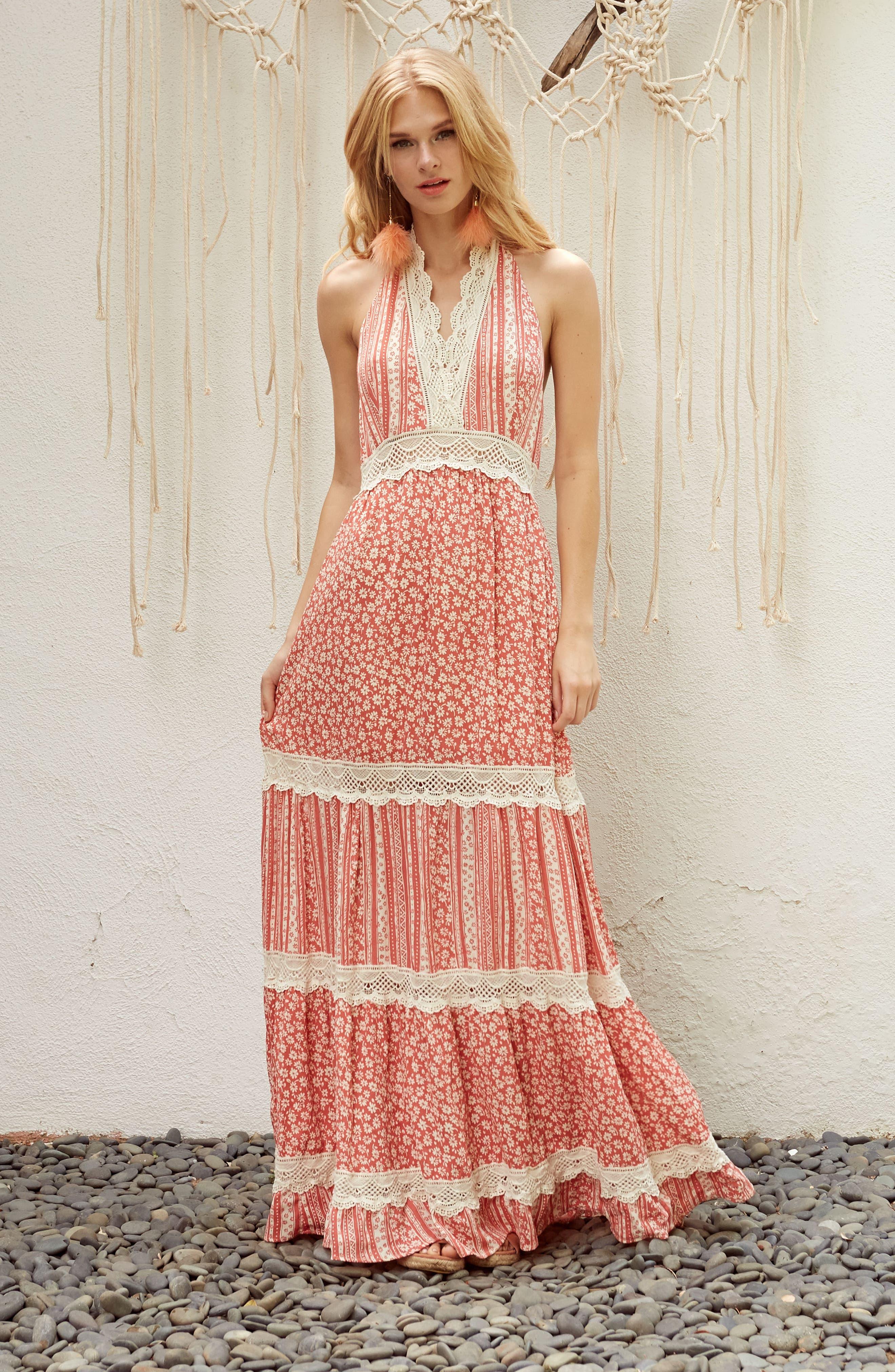 Sun's Out Halter Maxi Dress,                             Alternate thumbnail 7, color,                             951
