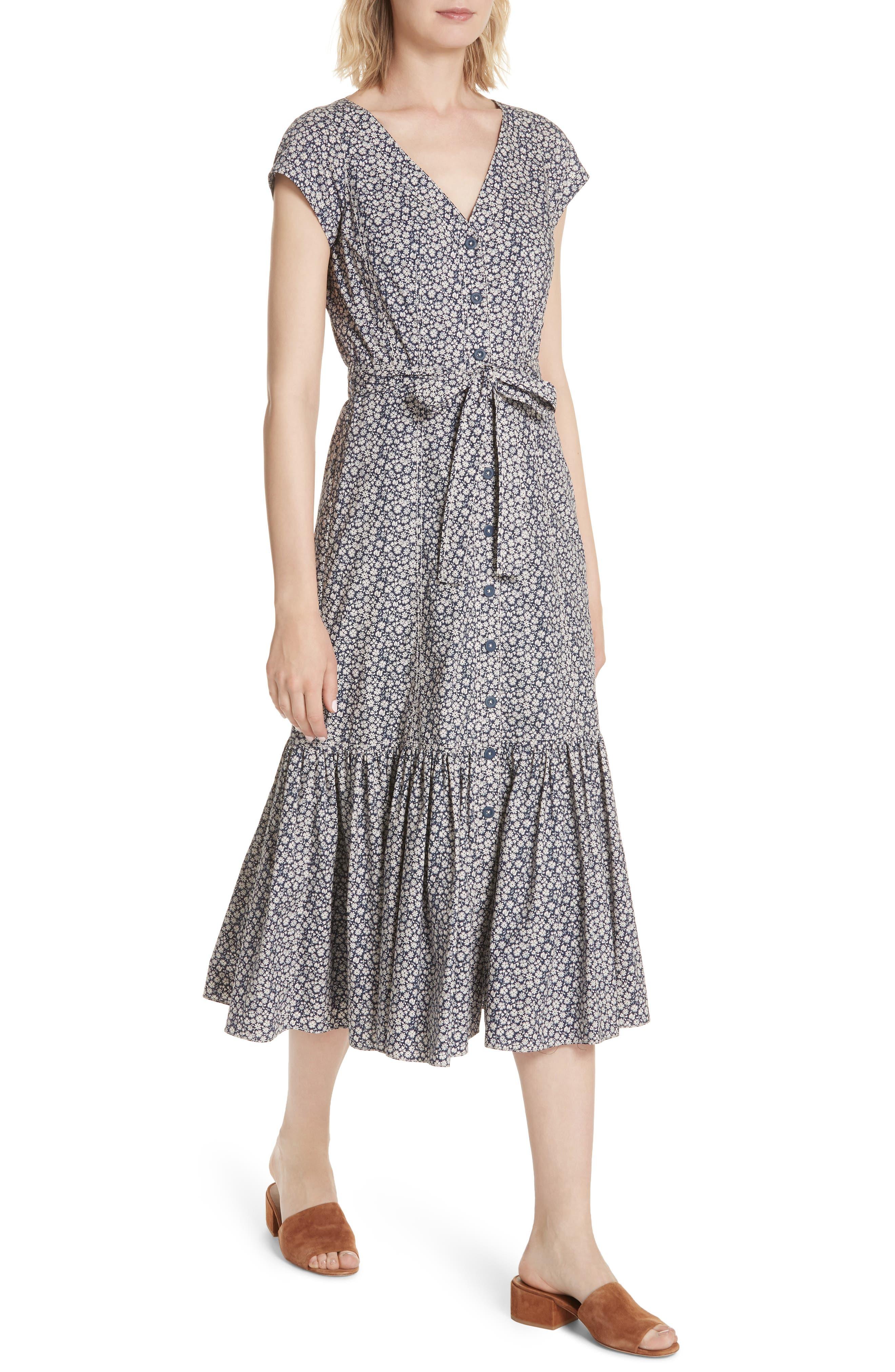 Lauren Tie Front Floral Cotton Dress,                             Alternate thumbnail 4, color,                             450