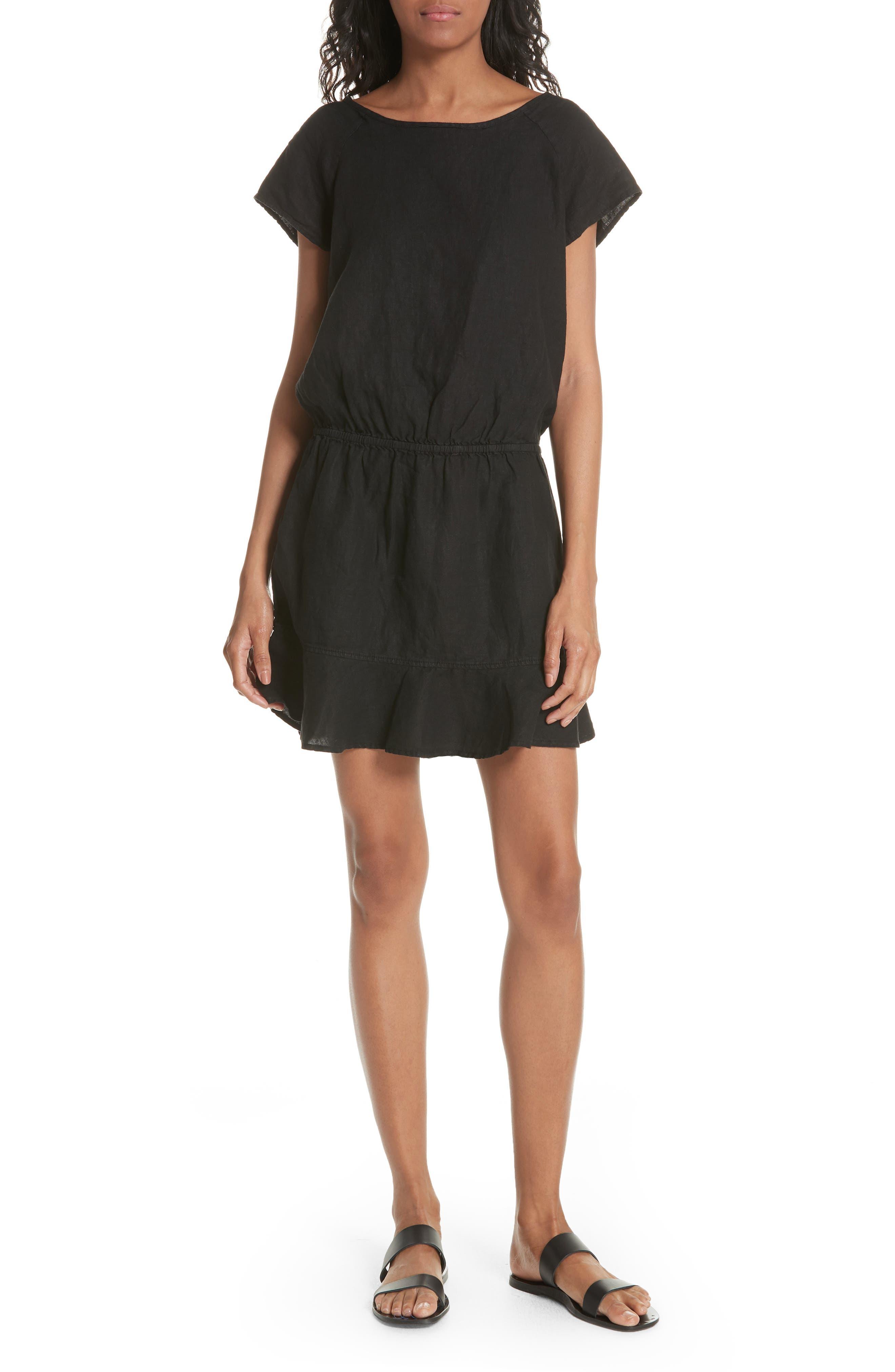 Quora Ruffle Linen Dress,                             Main thumbnail 1, color,