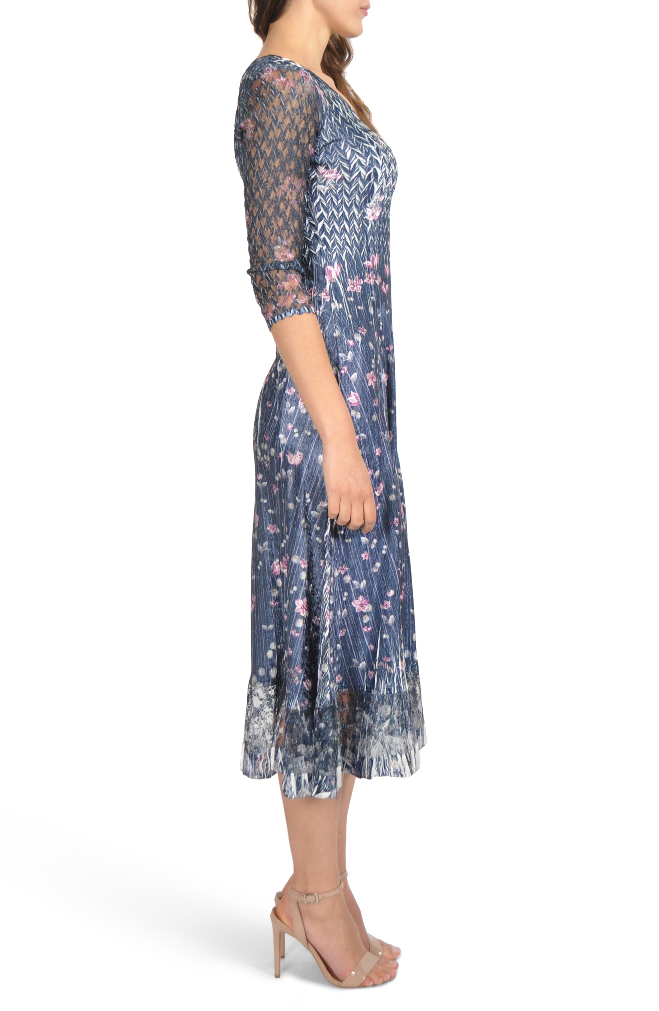 Lace Sleeve Charmeuse Midi Dress,                             Alternate thumbnail 3, color,                             WILD THISTLE