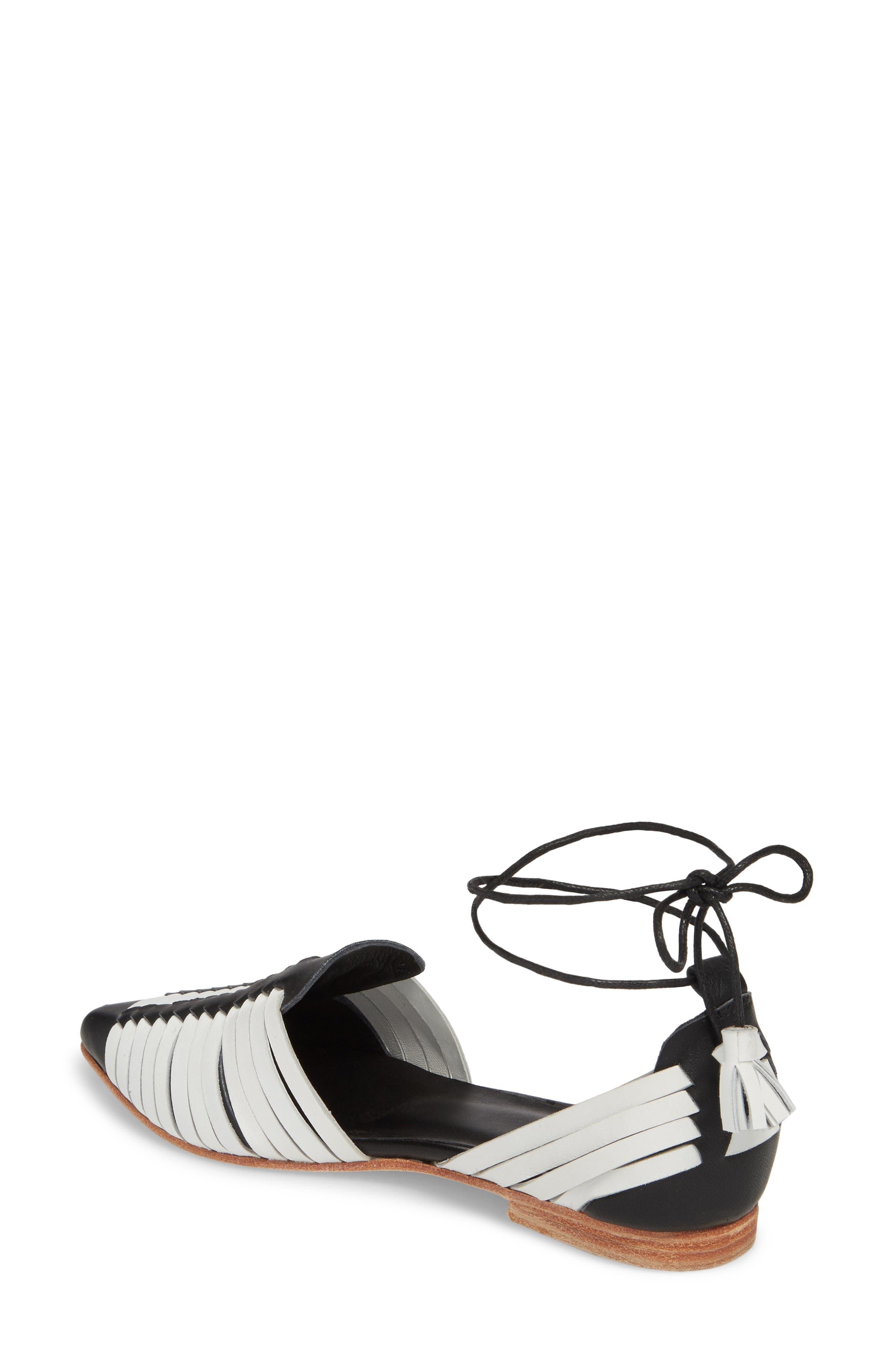 Hollis Huarache Ankle Tie Flat,                             Alternate thumbnail 2, color,                             BLACK/ WHITE LEATHER