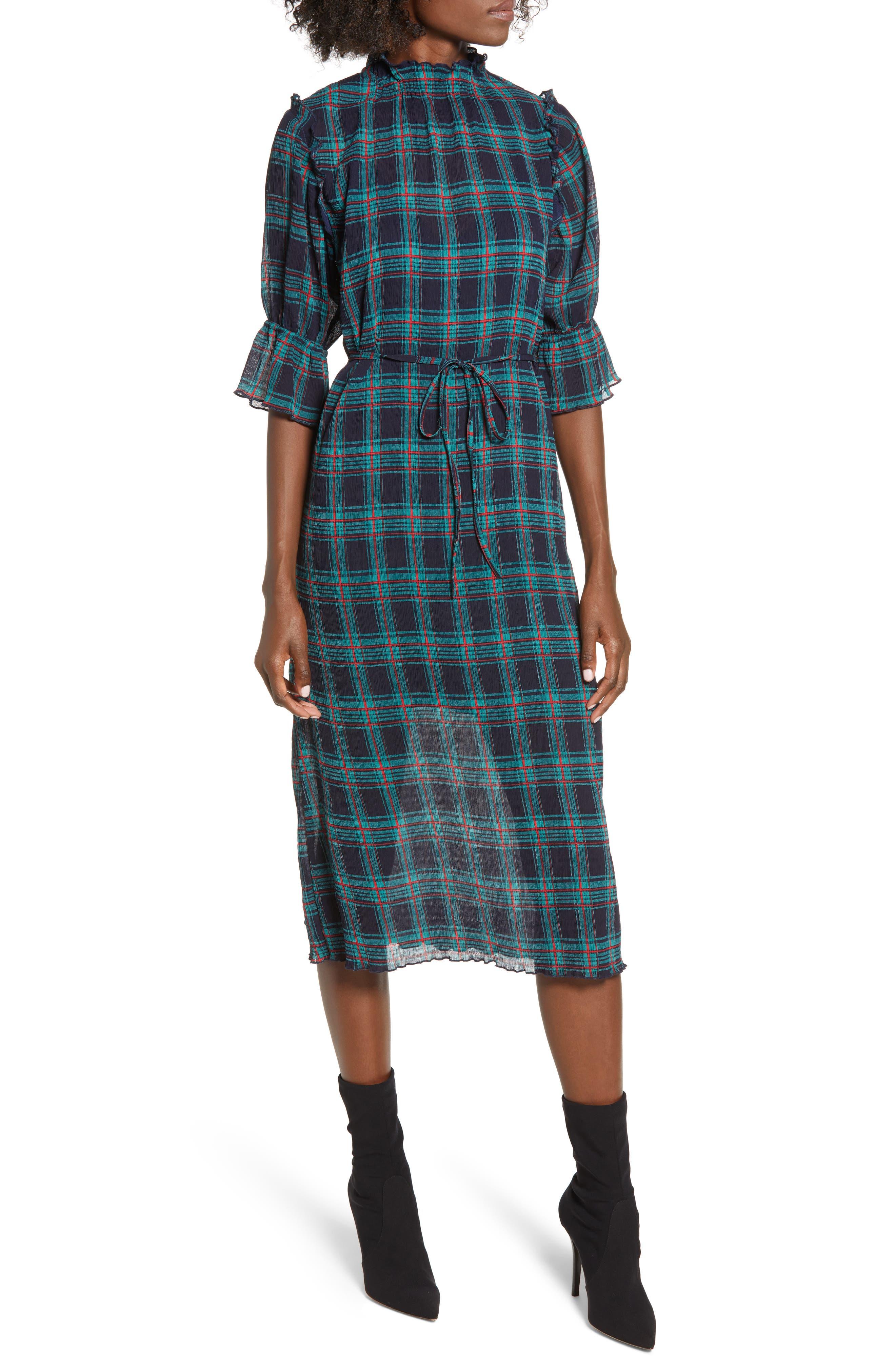 Zone Tartan Midi Dress,                             Main thumbnail 1, color,                             400