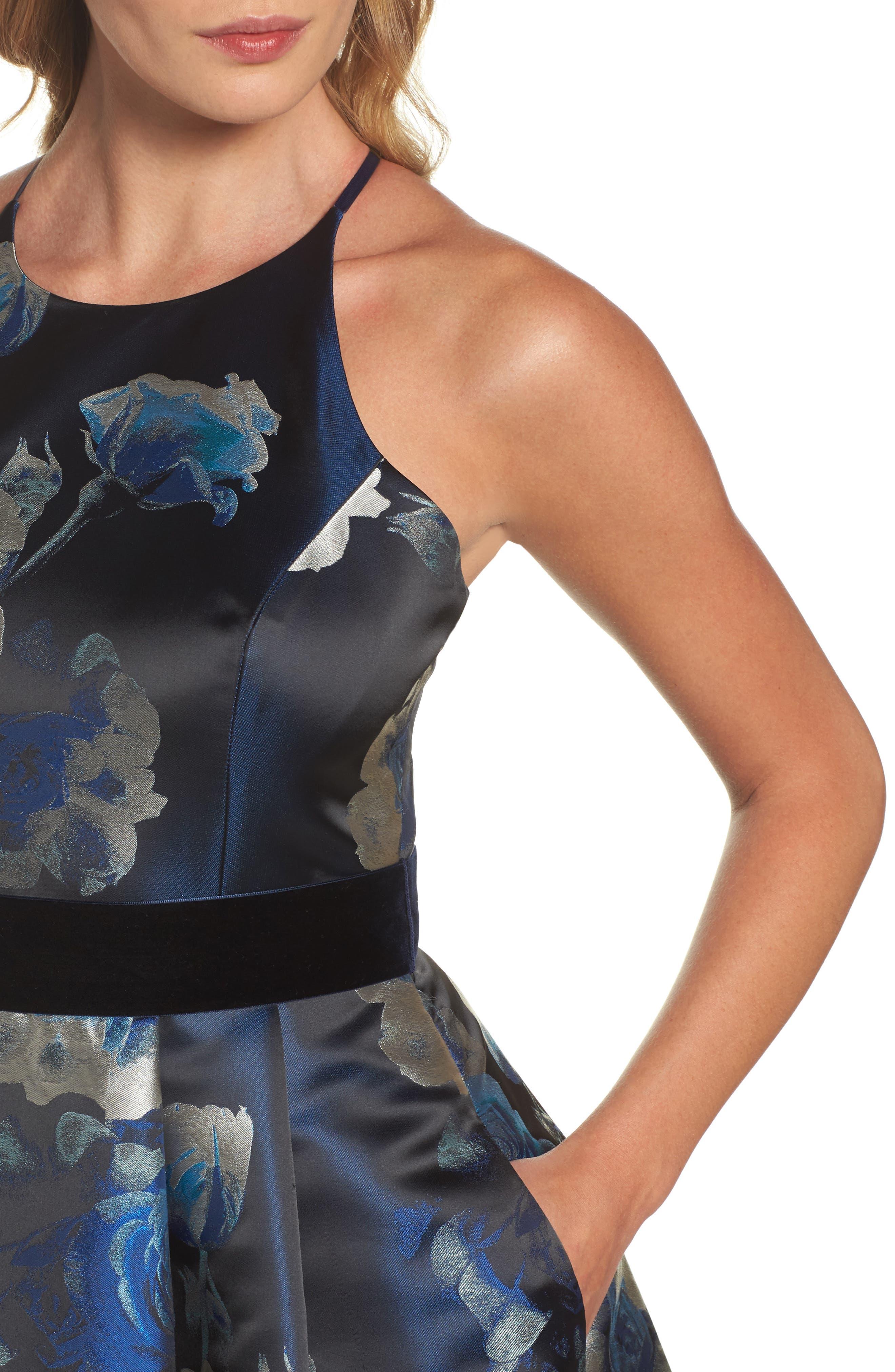 Jacquard Fit & Flare Dress,                             Alternate thumbnail 4, color,                             004