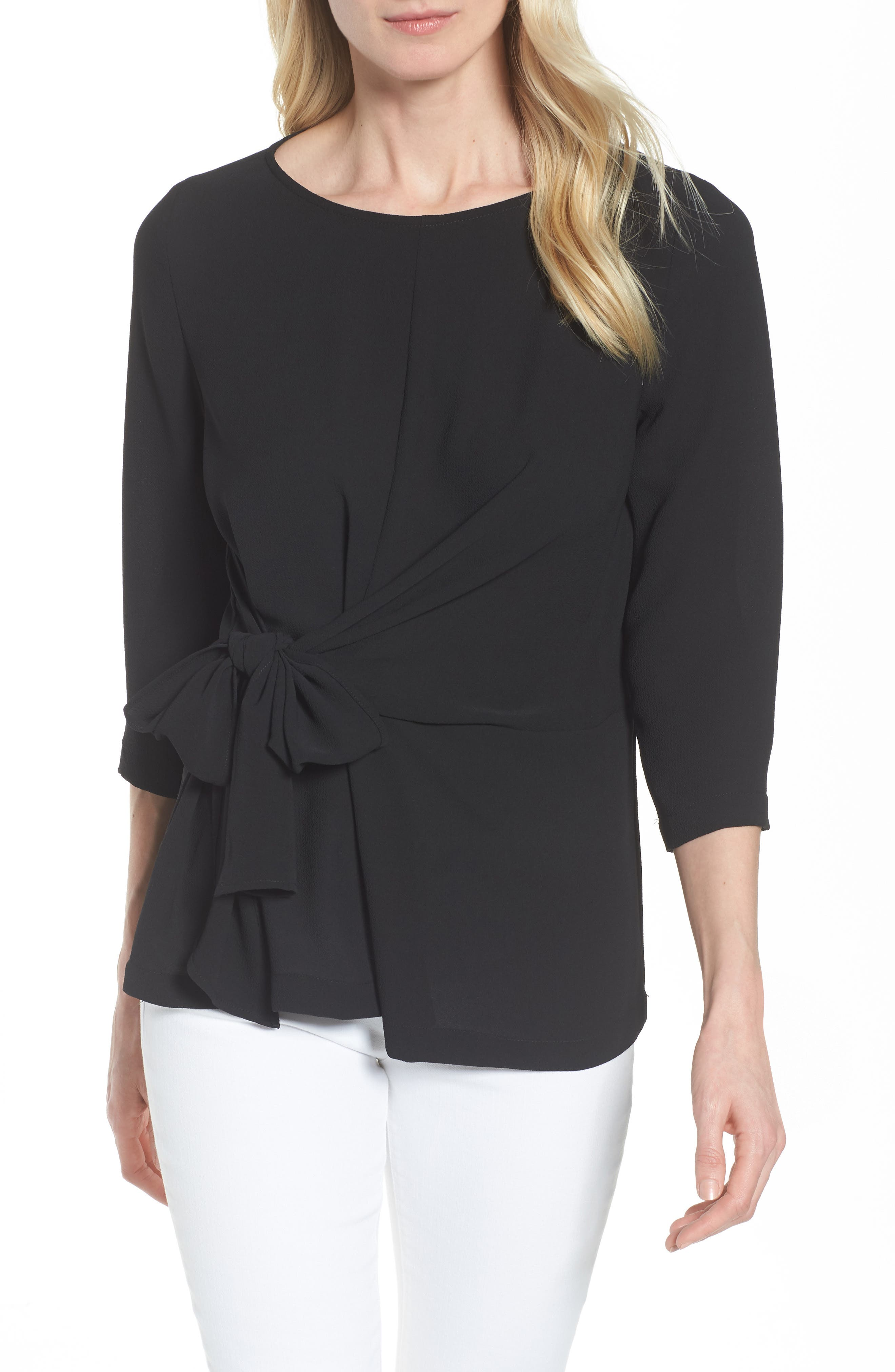 GIBSON Tie Front Crepe Top, Main, color, 001