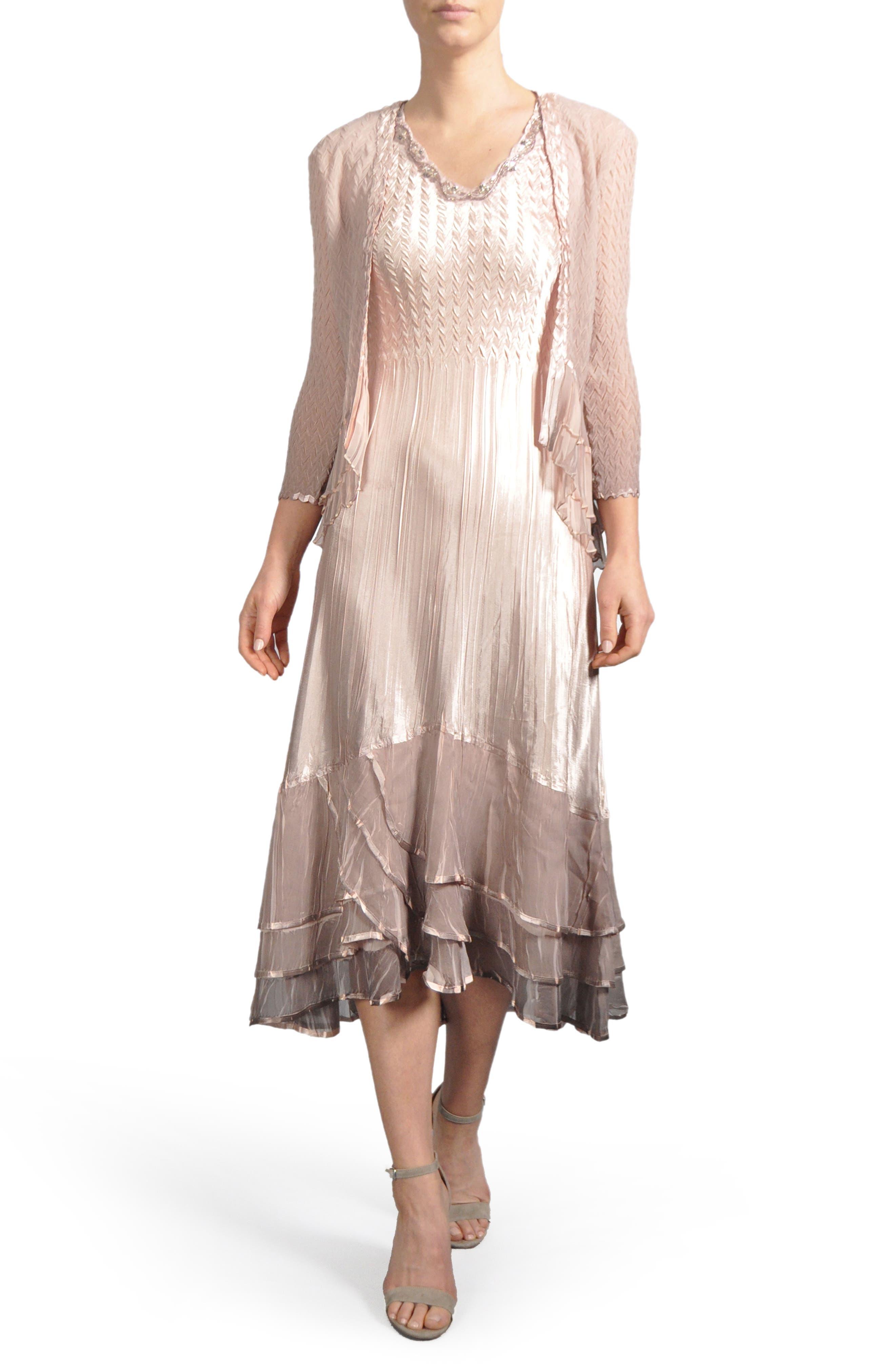 Ruffle Hem Midi Dress with Jacket,                             Main thumbnail 1, color,                             233